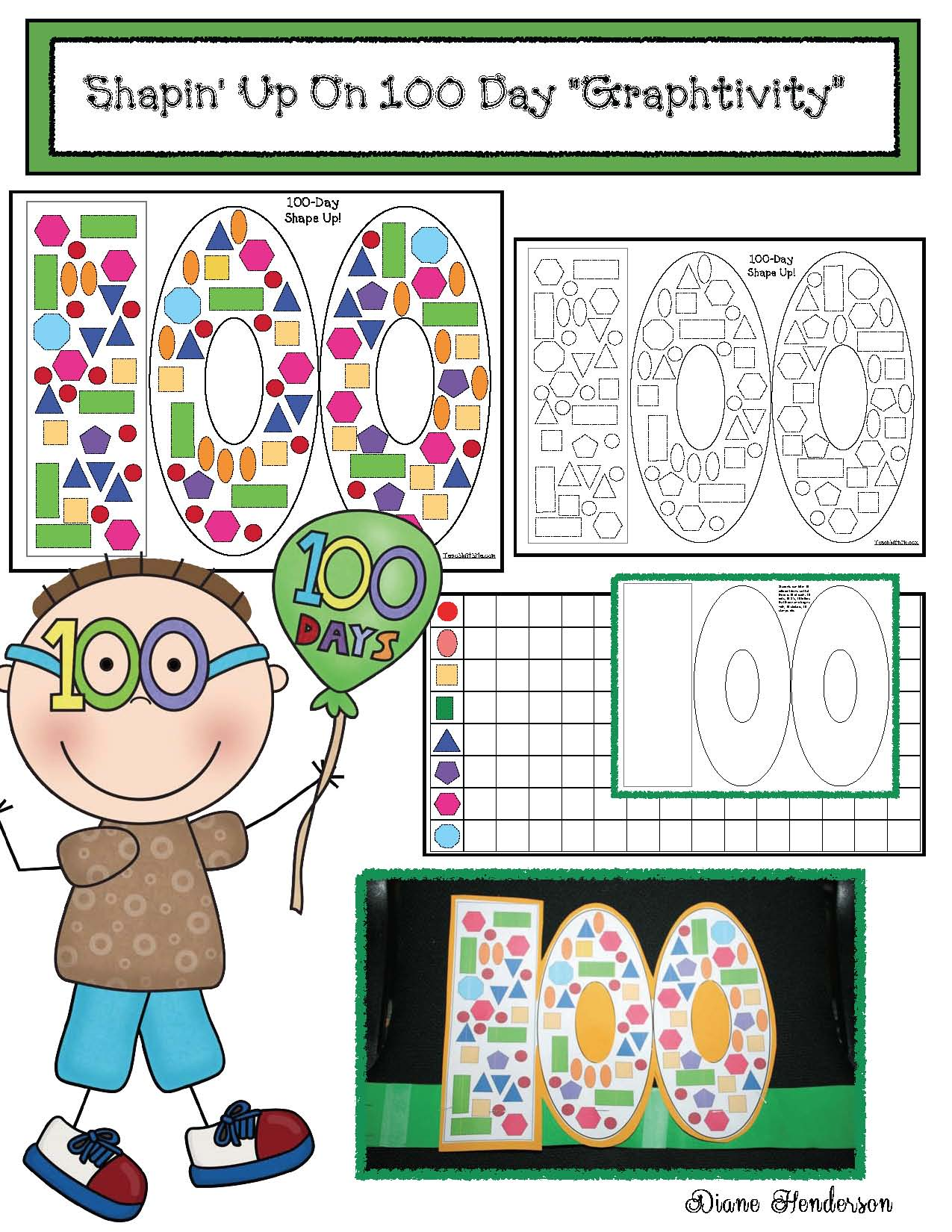 skip counting activities, 100 day activities, 100 day crafts, graphing activities, 2D shape activities, skip counting by 5s and 10s, fun ways to count to 100, 100 day crown