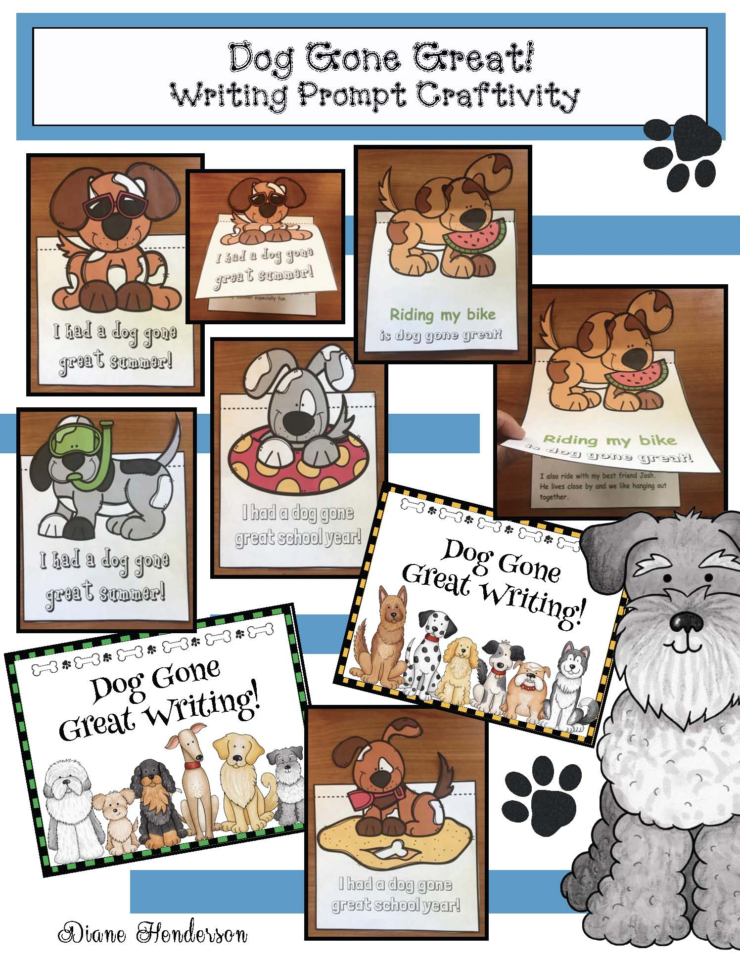 back to school activities, back to school bulletin boards, back to school writing prompts, dog activities, dog crafts, end of the year writing prompts, end of the year activities, end of the year bulletin boards, summer writing, summer bulletin board