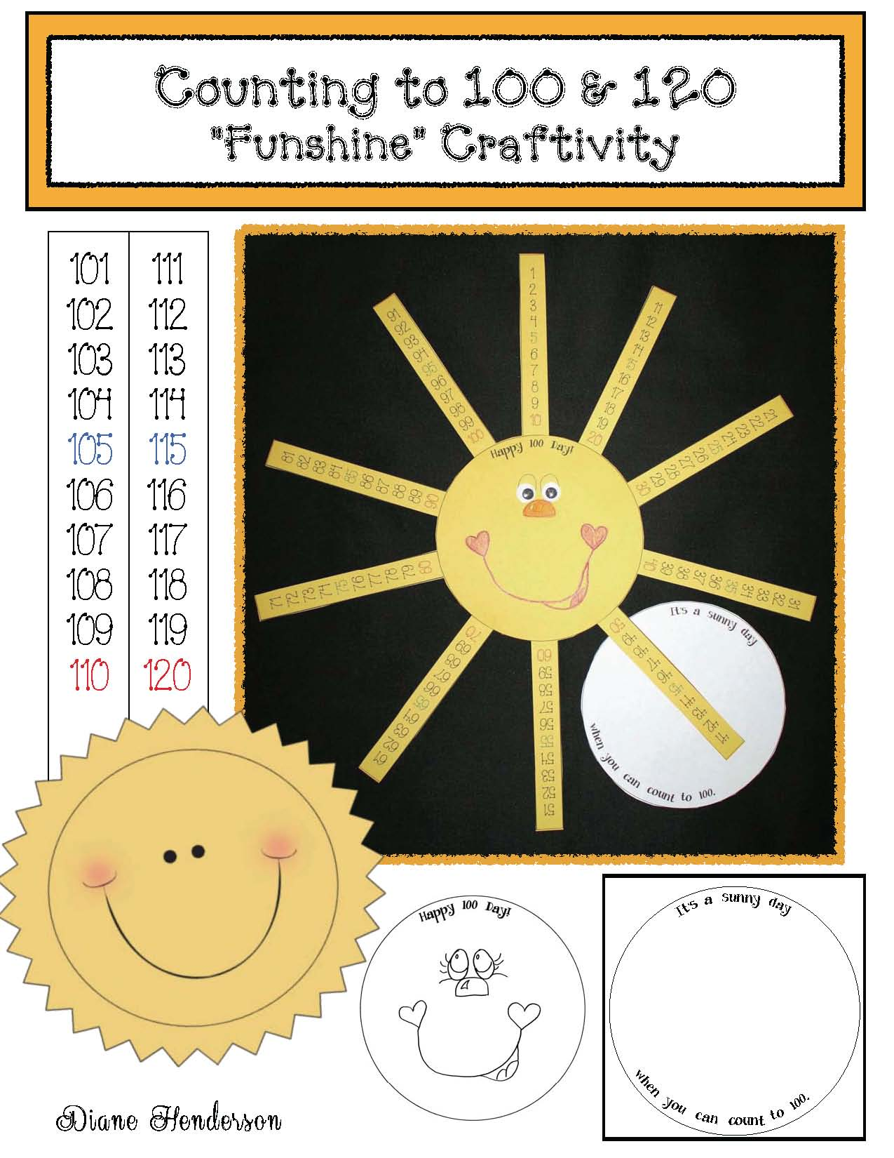 cover Counting to 100 and 120 Sunshine Craftivity