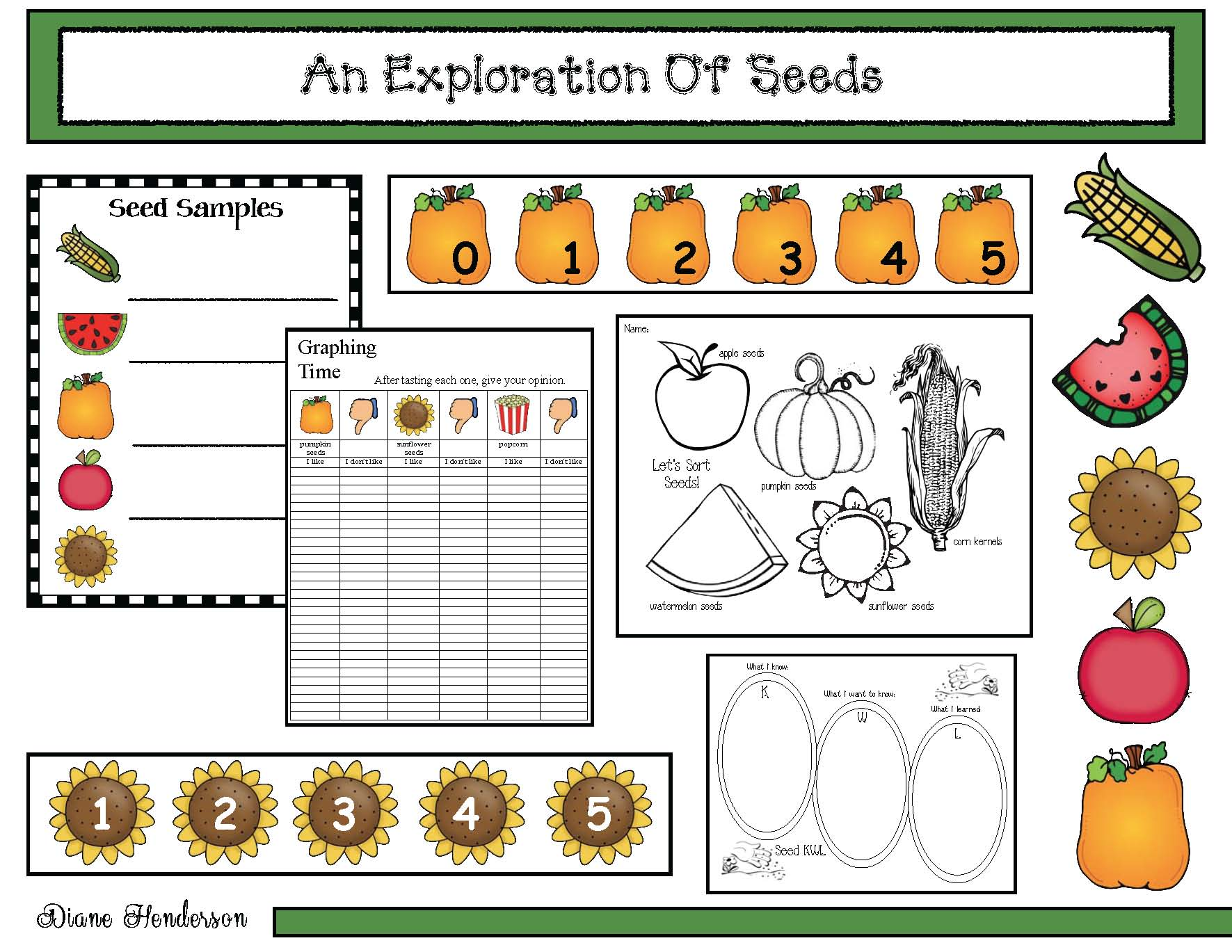 sorting seeds, fall math centers, pumpkin activities, apple activiteis, watermelon activities