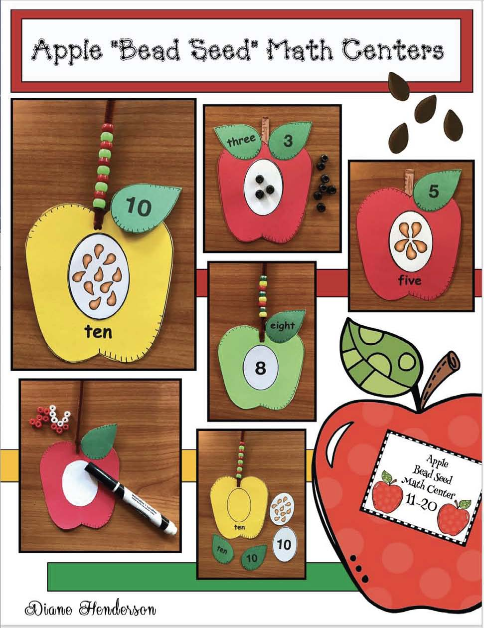 apple games, apple centers, apple activities, seed counting, fall math centers, number recognition, counting, apple puzzles