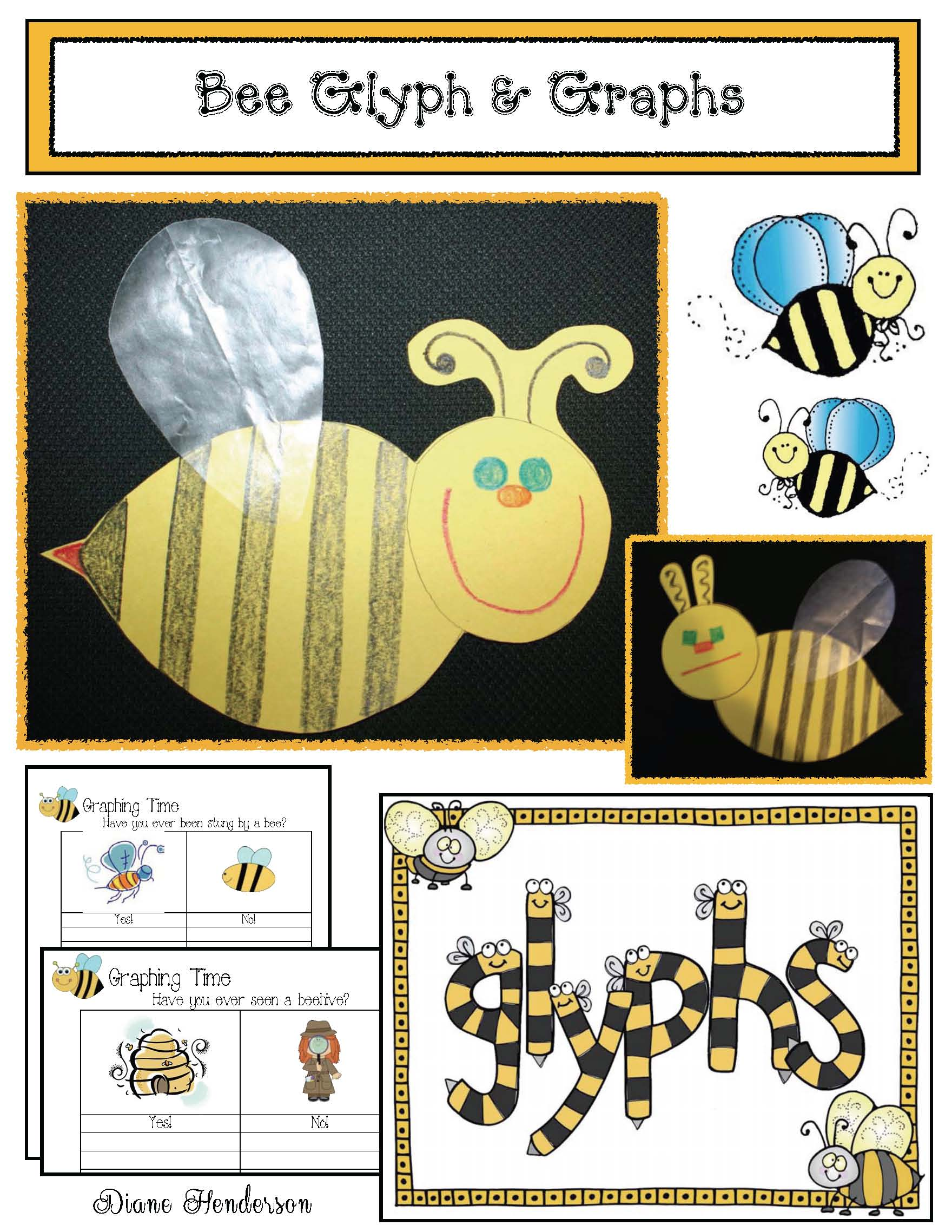 glyphs, summer glyphs, glyphs for spring, glyphs for May, bee glyph, flower glyph, listening and following directions activities