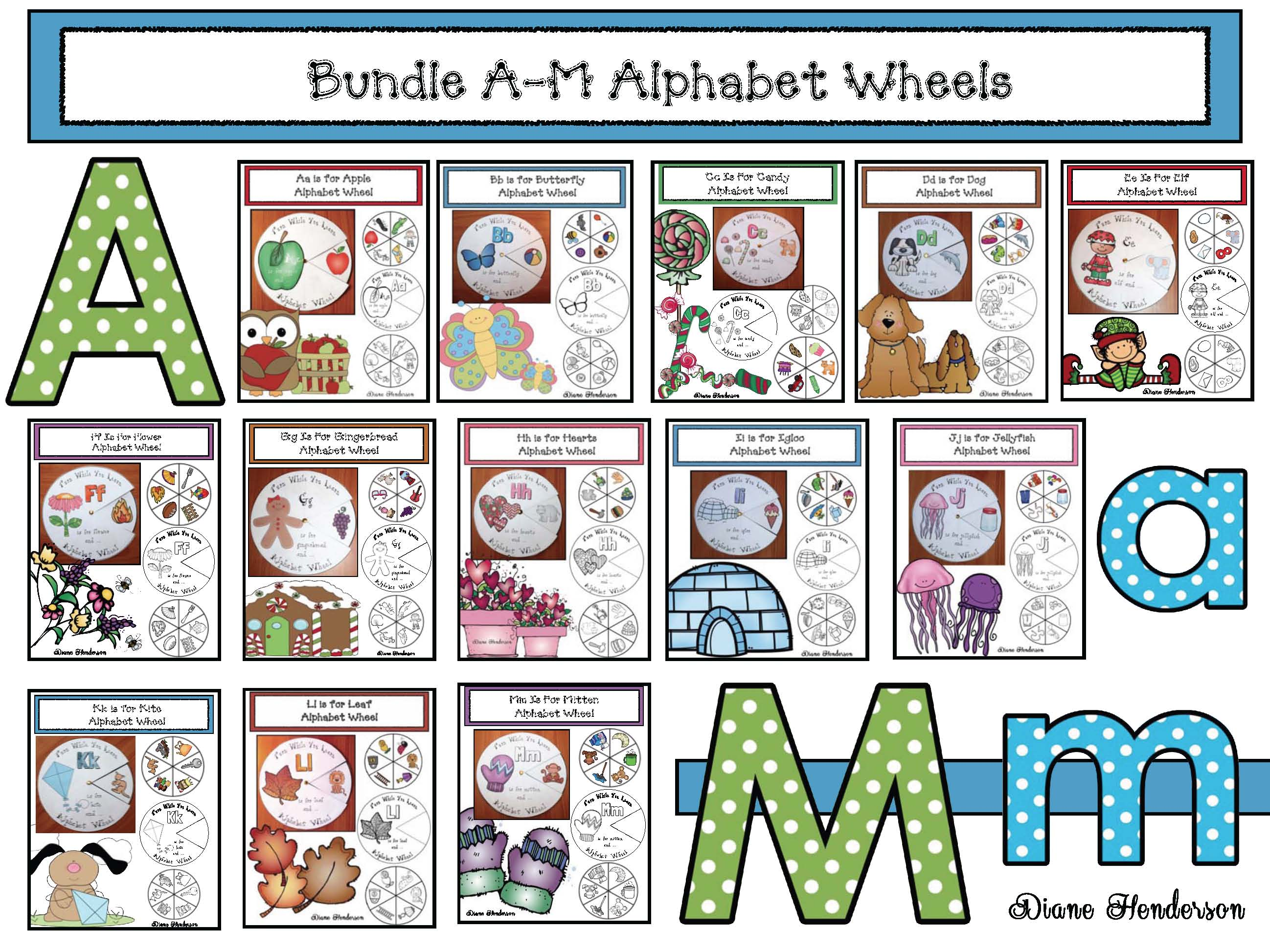 alphabet activities, alphabet centers, alphabet wheels, alphabet crafts, vocabulary building
