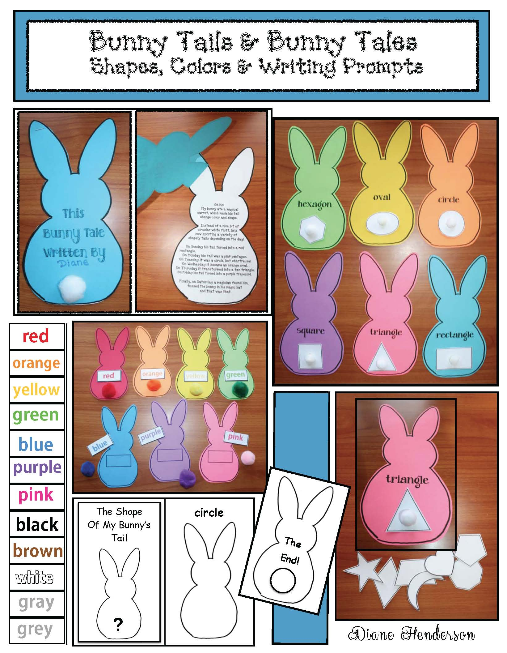 spring crafts, spring activities, bunny crafts, color games, spring writing prompts, flower crafts, Mother's Day cards, 2D shape activities