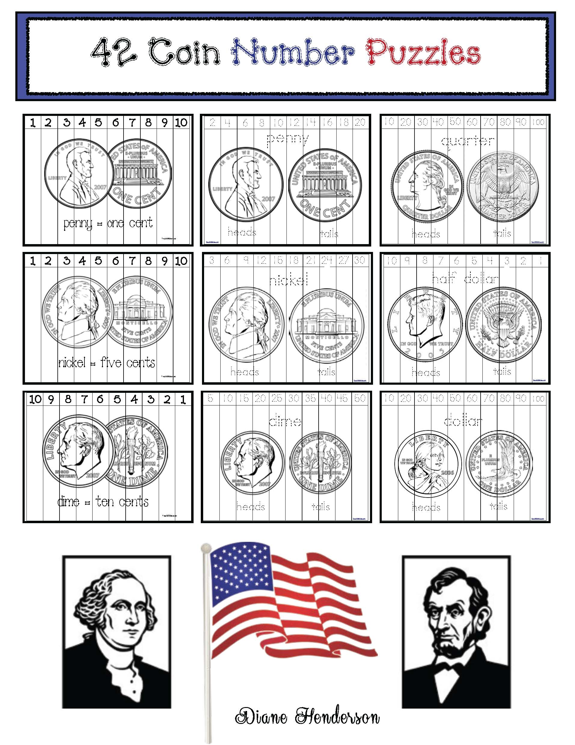 presidents day activities, presidents day crafts, presidents day games, coin games, coin activities, coin crafts, coin assessments, coin centers, coin puzzles identifying coins
