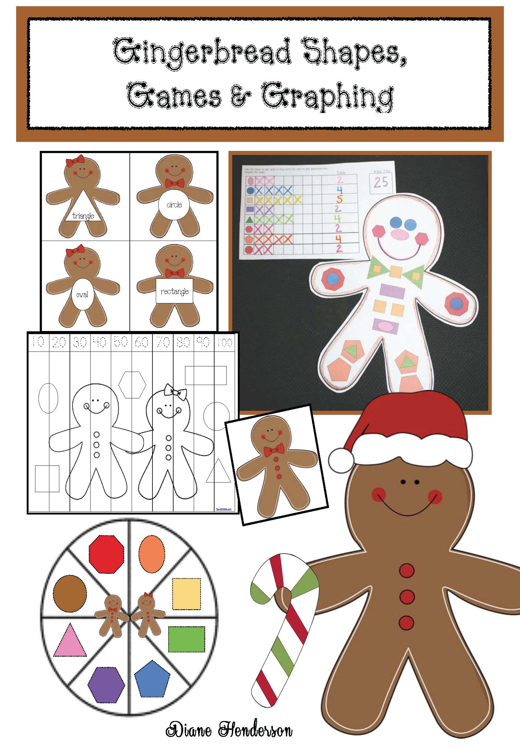cover gingerbread graphing and shape game