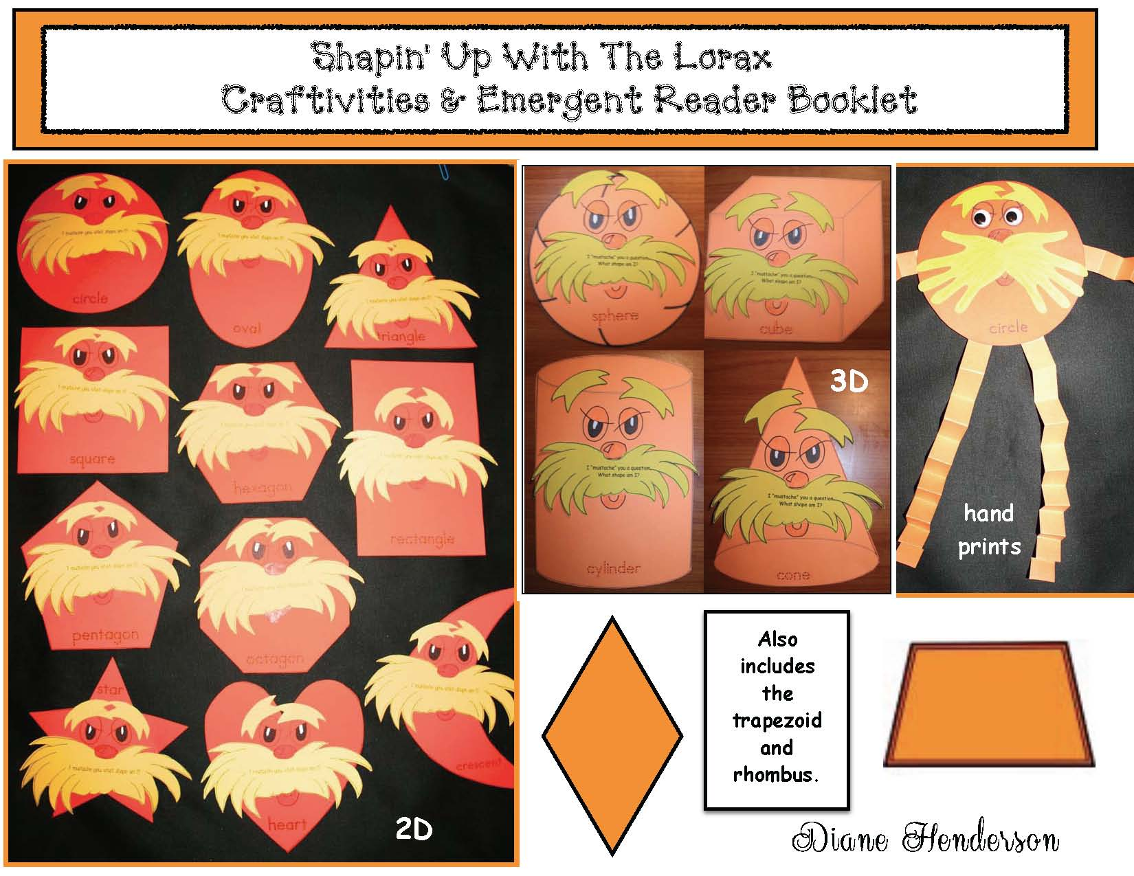 Seuss activities, seuss crafts, seuss centers, seuss games, 2D shape activities 3D shape activities, shape games, shape crafts, shape activities, telling time to the hour activities, Lorax activities, telling time to the hour games