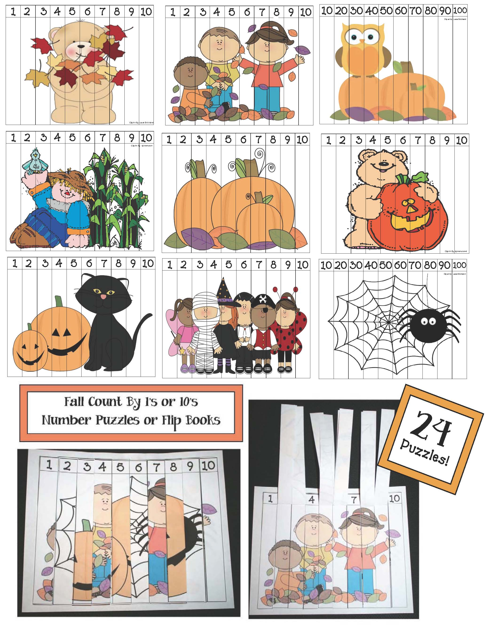fall themed number puzzles, skip counting by 10's, shape activities, shape games, number puzzles, spider puzzle, scarecrow puzzle, pumpkin puzzle, leaf puzzle, fall shape games, fall shape activities, number word activities, number word games