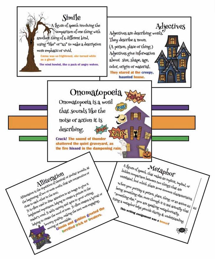 halloween activities, halloween bulletin board ideas, scary writing activities, halloween writing prompts, spooky writing, halloween crafts, homophone activities, onomatopoeia activities, metaphor activities, writing centers for October, similie activities,