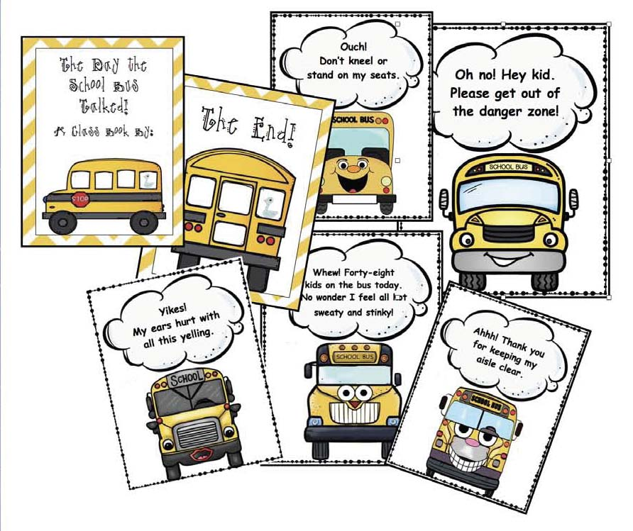 bus safety activities, bus safety posters, writing prompts for back to school, bus activities, bus rules, a list of bus rules, bus word search, back to school bulletin board,