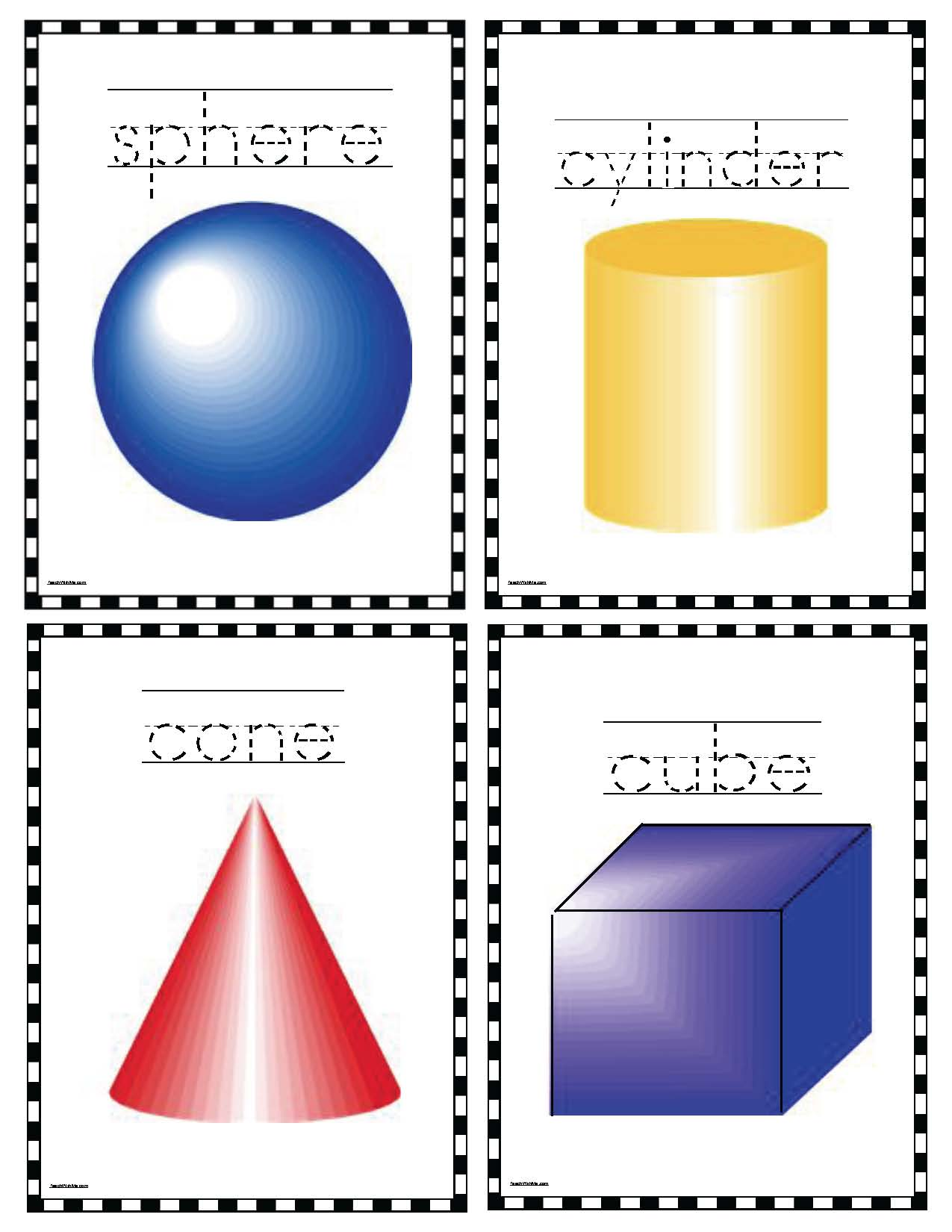 3D posters shpere cube cone cylinder activities 3D shapes 3D shape activities 3D shape games