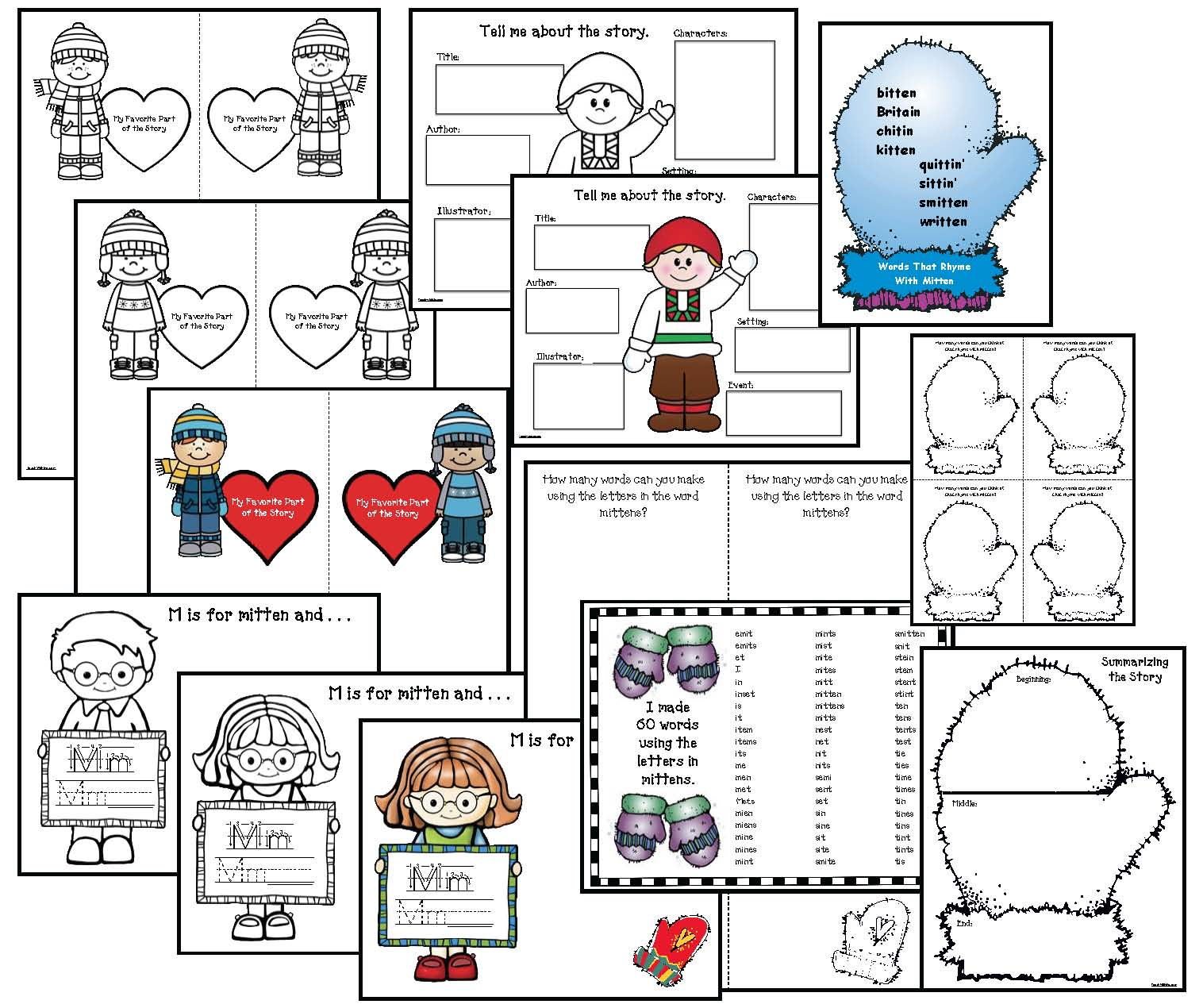 Activities for the mitten by jan brett, mitten activities, mitten crafts, literacy packet for the mitten, common core mitten