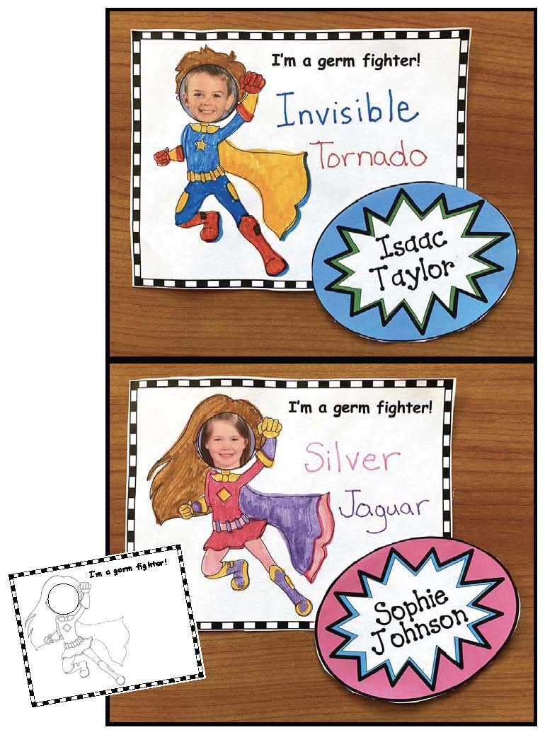 Superhero activities, superhero bulletin board ideas, BTS Covid activities, Mask activities, Name writing activities, What's your superhero name activties, superhero posters, superhero crafts, superhero coloring pages