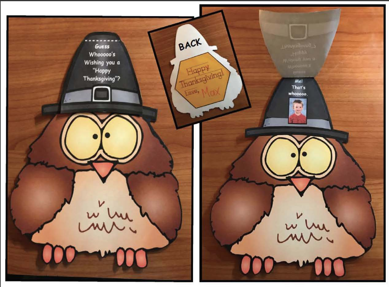 Thanksgiving cards, thanksgiving crafts, november writing prompts, owl crafts, november bulletin boards, thanksgiving bulletin boards