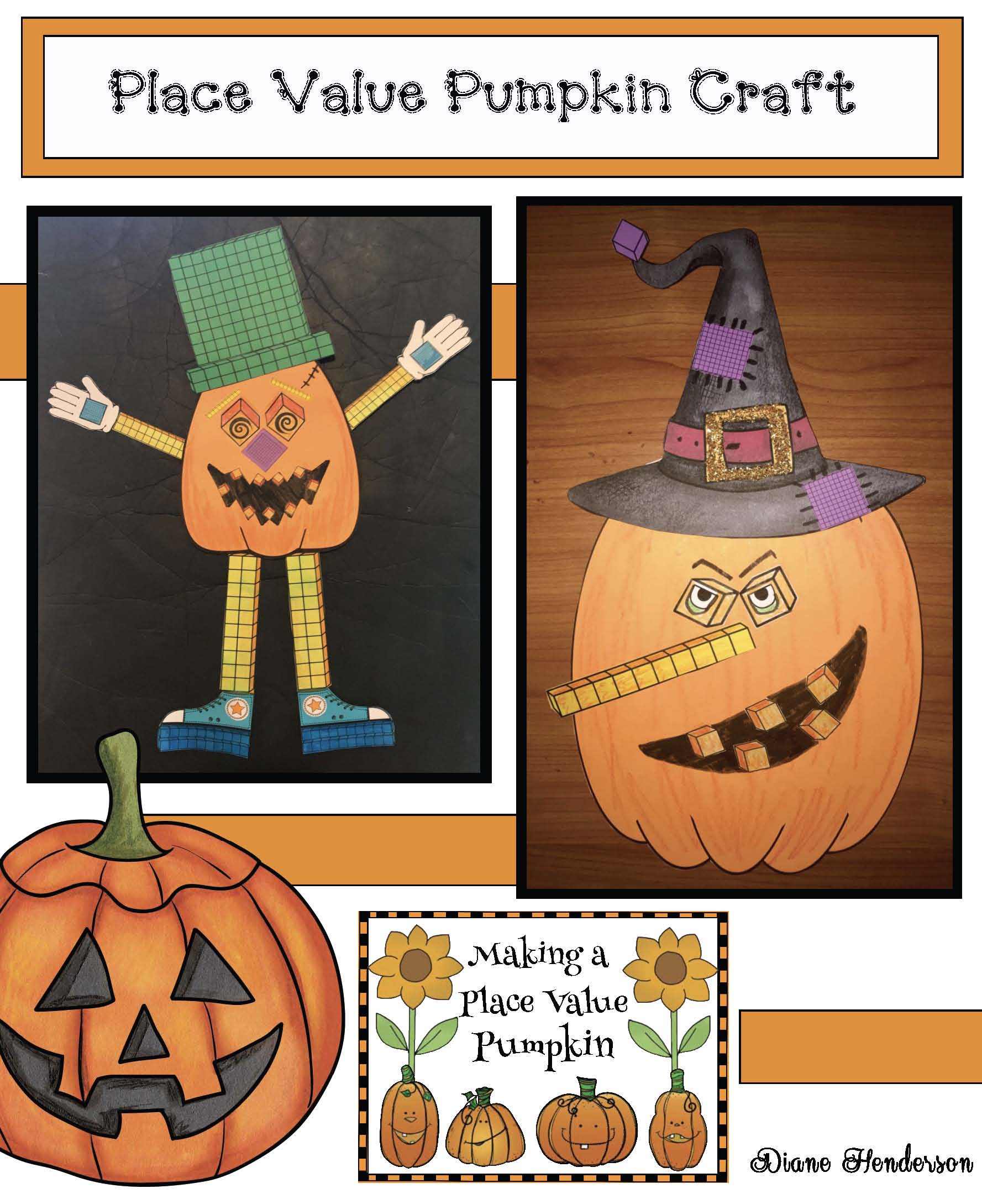 pumpkin crafts, pumpkin activities, place value activities, place value crafts, october bulletin boards, math bulletin boards, halloween party day crafts