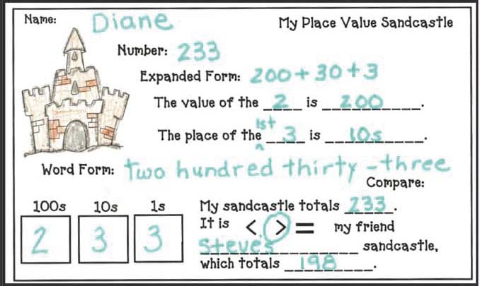 place value crafts, place value activities, place value centers, place value games, sandcastles, sandcastle crafts, summer activities, Lucky Charms treat bags, back to school treats, place value assessments, graphing activities,