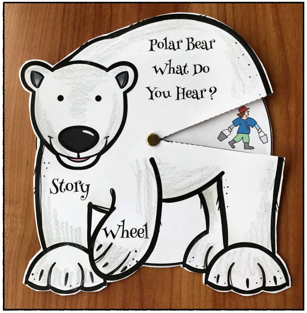 polar bear what do you hear activities, 5 senses activities, eric carle books, bill martin books, polar bear crafts, retelling a story activities, sequencing a story activities, farm animal activities, story wheels, emergent reader books, class made books