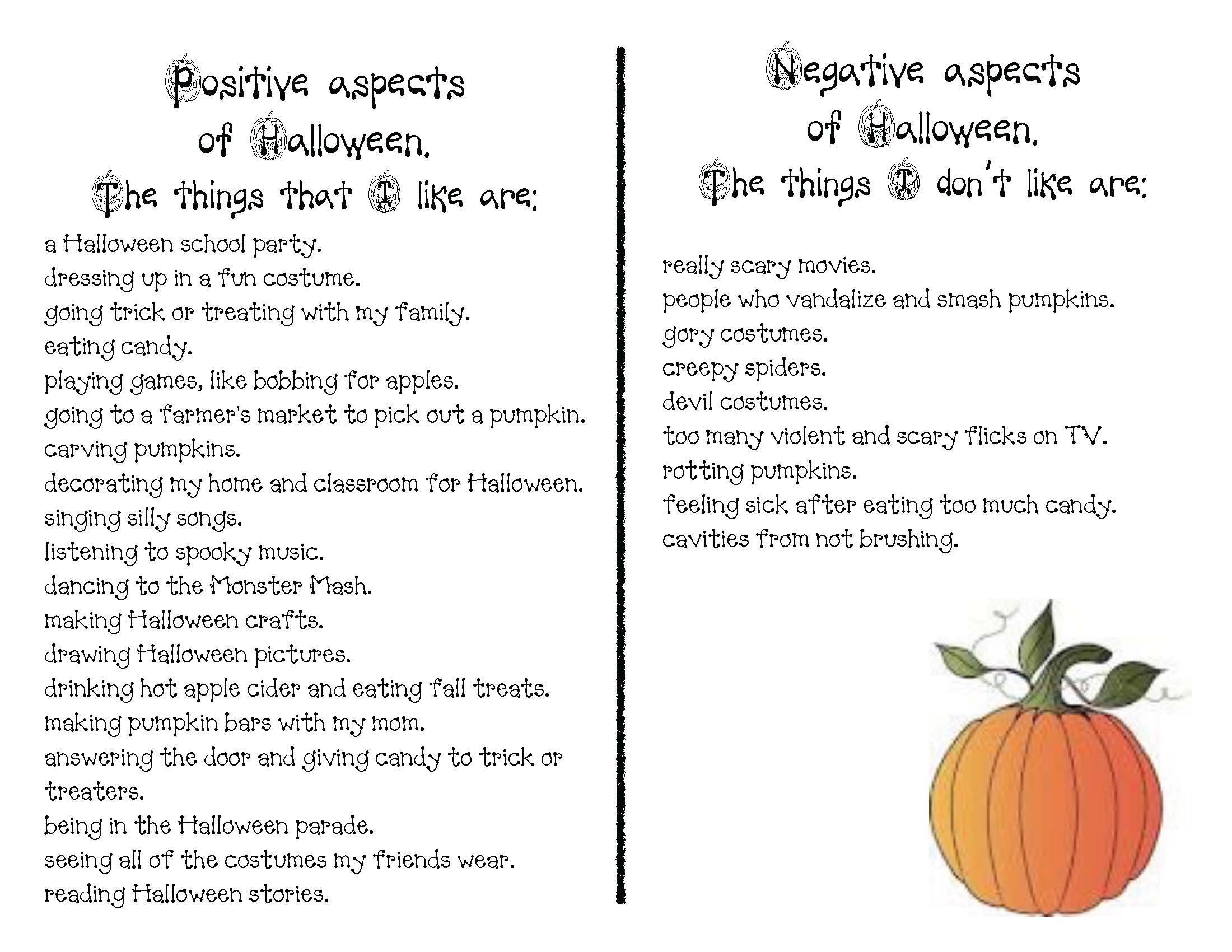 Halloween writing prompts, writing prompts for October, halloween crafts, halloween activities, positive negative art, pumpkin crafts, pumpkin activities