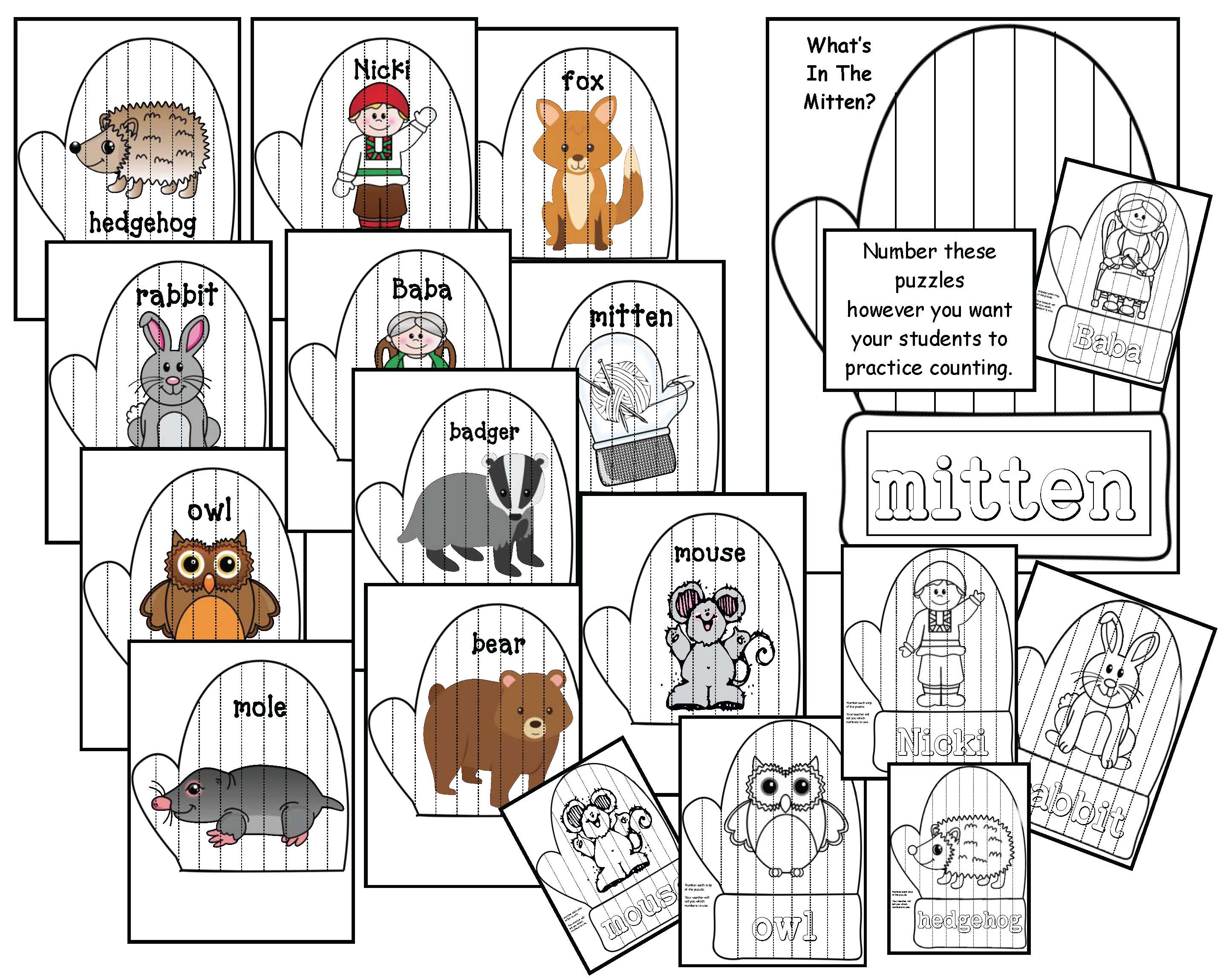 mitten activities, mitten crafts, mitten math, class made winter books, january writing prompts, activites to go with jan bretts the mitten, magic e activities, silent e activities, mitten puzzles, verb activities, mitten centers,
