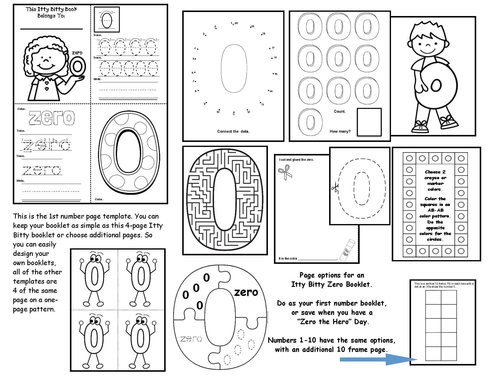 number booklet, number posters, coloring pages for numbers, number recognition activities, counting activities, sequencing numbers, math posters, dot numbers, math centers, number crafts, math bulletin boards