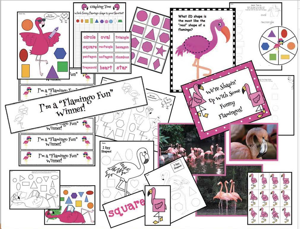 flamingo activities, flamingo crafts, 2D shape games, 2D shape centers, 2D shape crafts, 2D shape assessments, 2D shape activities