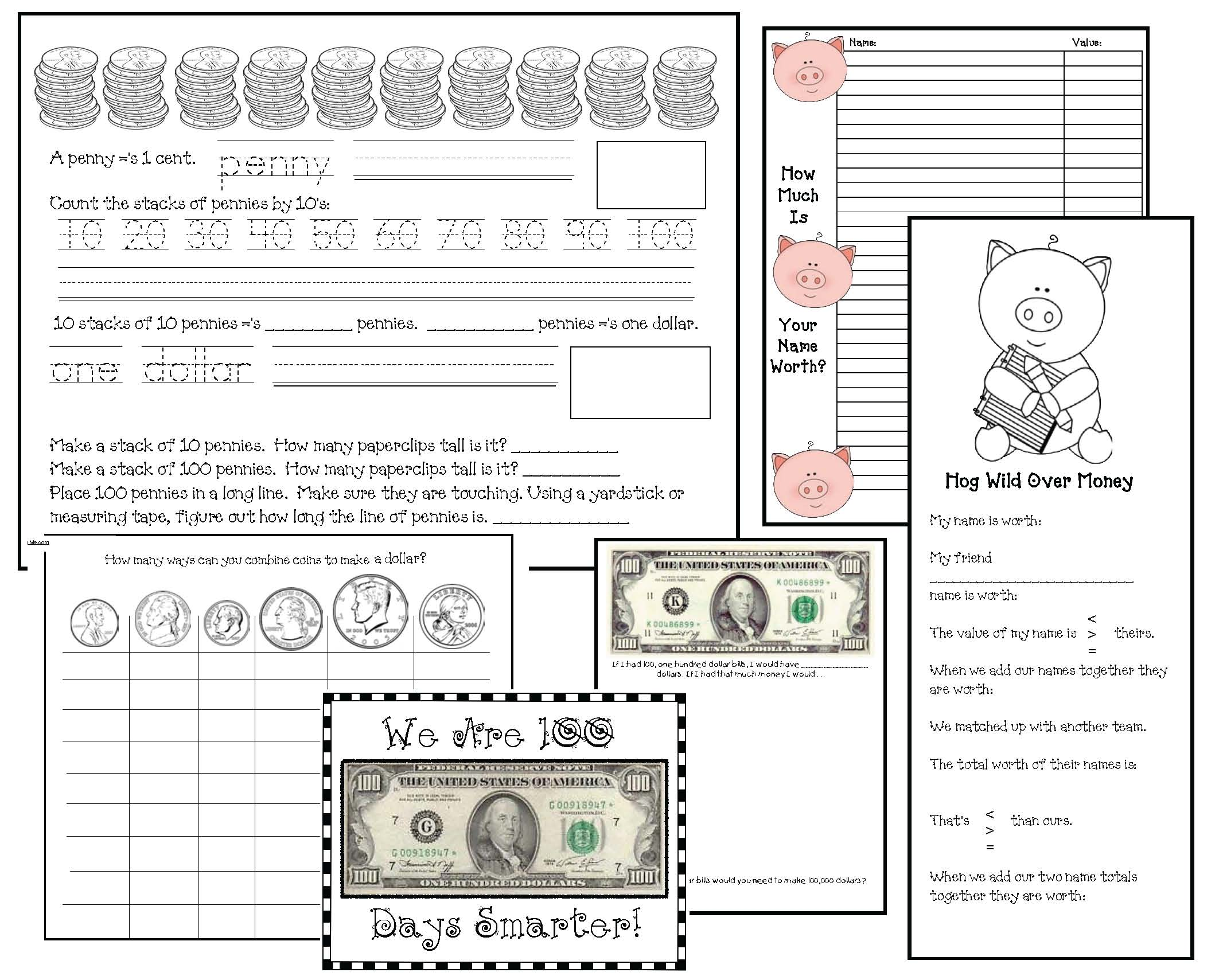 100 day activities, math activities for 100 day, money activities, coin identification, coin activities, dollar words, dollar word activities,