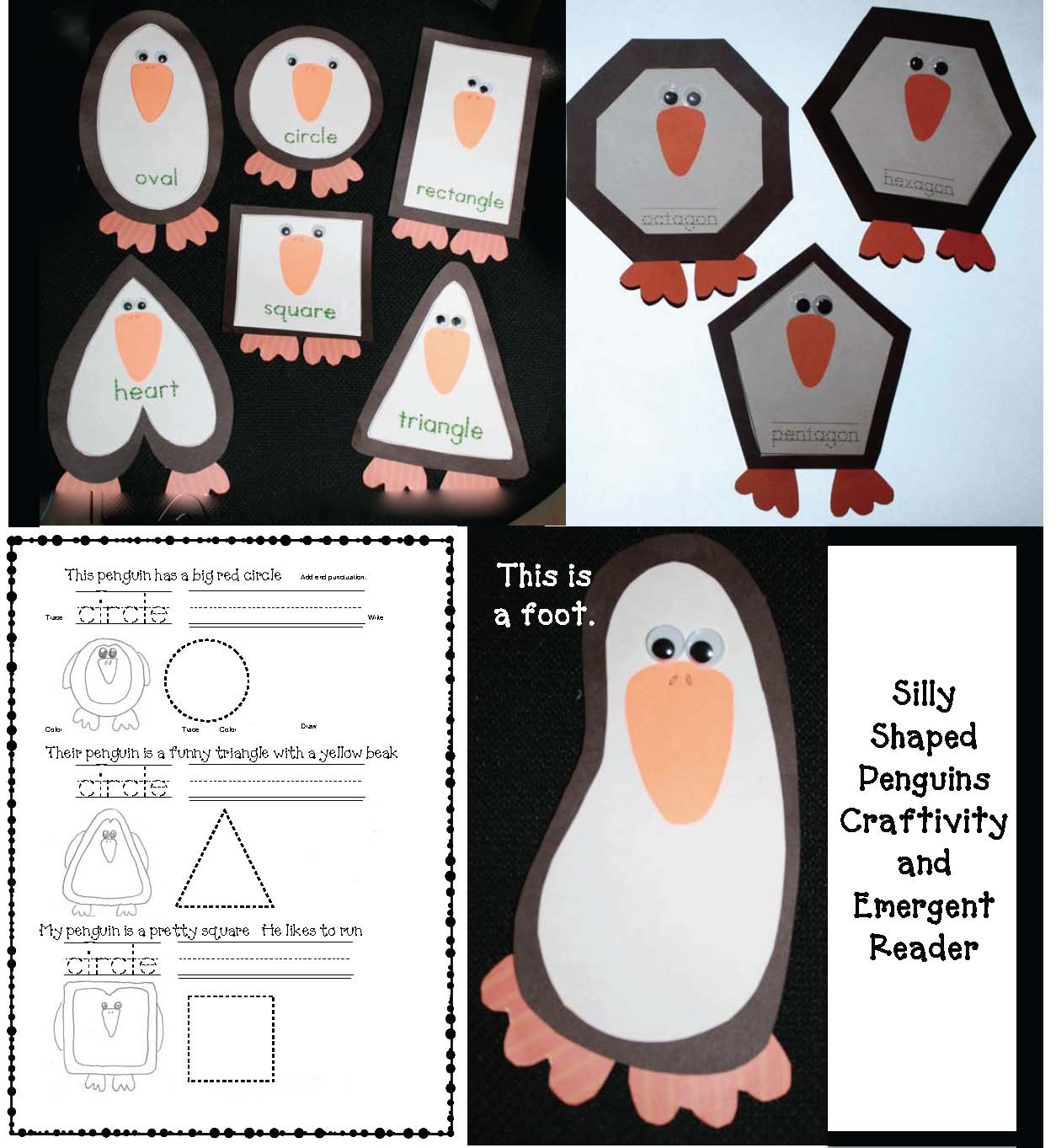 silly shaped penguins, penguin activities, penguin crafts, emergent readers, Dolch word practice, 2D shapes, 2D shape booklet, 2D shape emergent reader, 2D shape activities, 2D shape games
