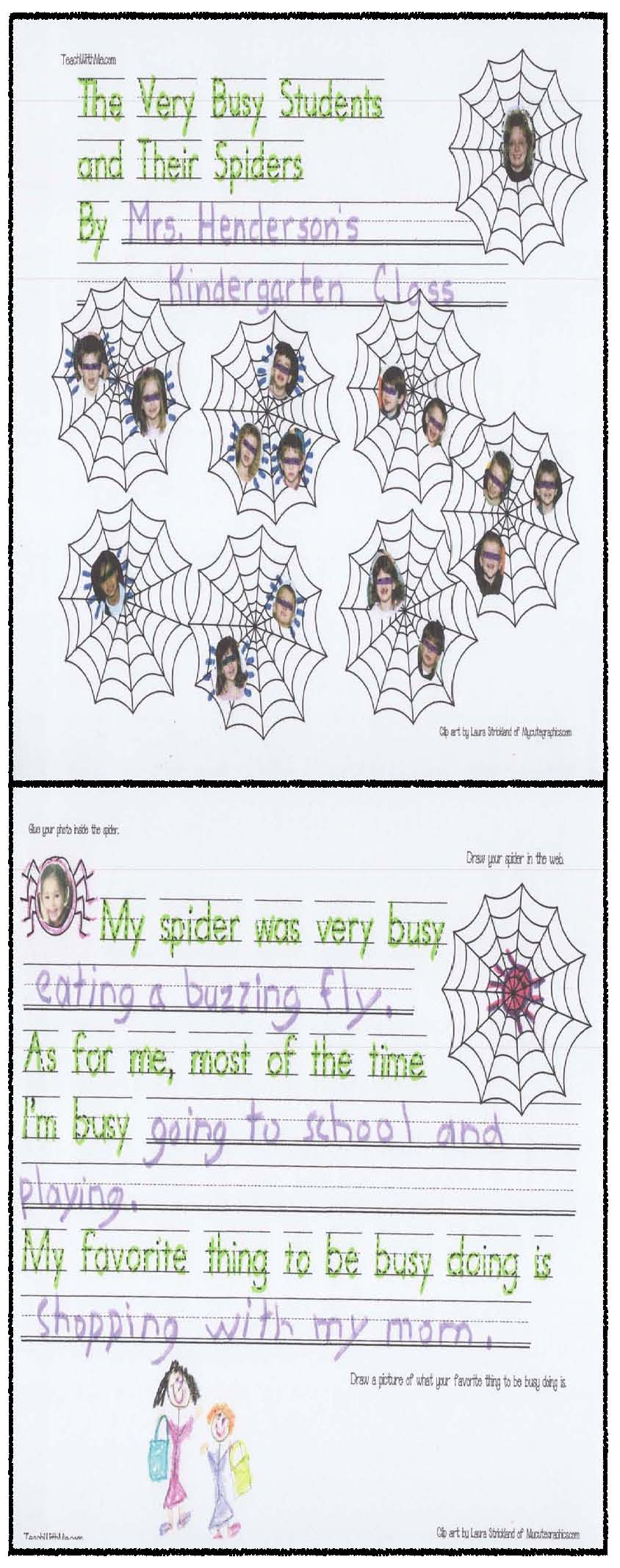 spider activities, spider crafts, the very busy spider activities, correct the sentence, end punctuation activities, spider writing prompts, spider bulletin boards,