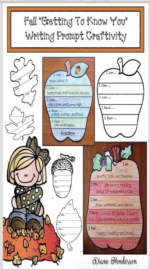getting to know you activities, back to school icebreakers, writing prompts for fall, pumpkin activities, apple activities, leaf activities, acorn activities, writing bulletin boards, bulletin board ideas for fall