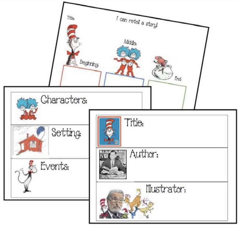 seuss cat in the hat story elements, cat in the hat activities, cat in the hat crafts, read across america activities, read across america bulletin boards, seuss activities, seuss crafts, sequencing and retelling the cat and the hat