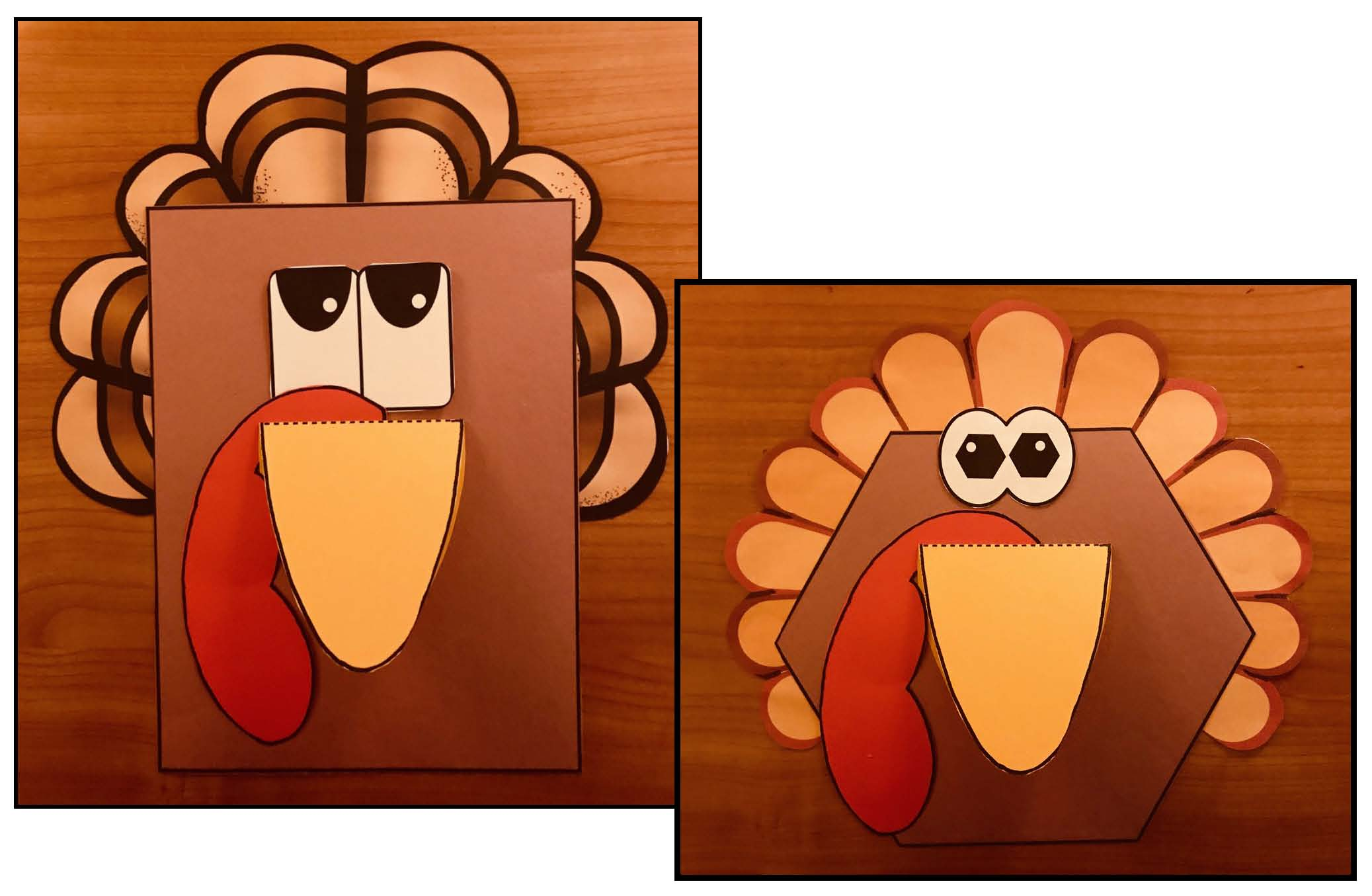 turkey crafts, turkey activities, 2D shape activities, 2D shape crafts, 2D shape assessments, attribute activities for 2D shapes, bulletin boards for 2D shapes, Thanksgiving crafts, Thanksgiving activities, 2D shape centers, shape games