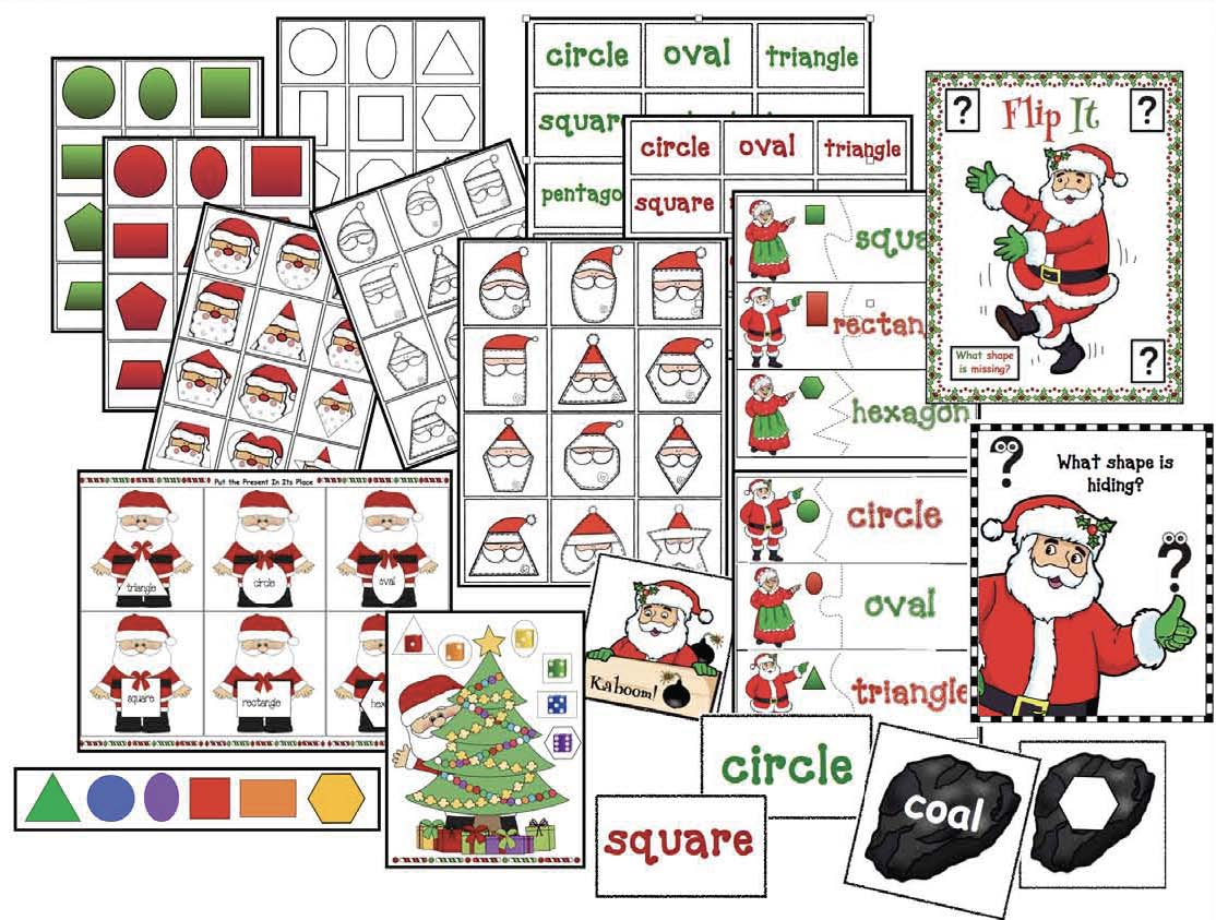 2D shape activities, Christmas crafts, Santa crafts, 2D shape games, 2D shape centers, 2D shape games, hexagon activities, 2D shape assessment, Santa activities,  Christmas games, Christmas party activities