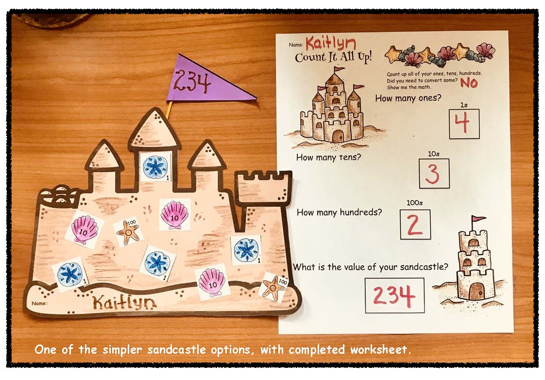 place value crafts, place balue sandcastles, place value games, place value worksheets, place value assessments, place value centers, sandcastles, math bulletin boards