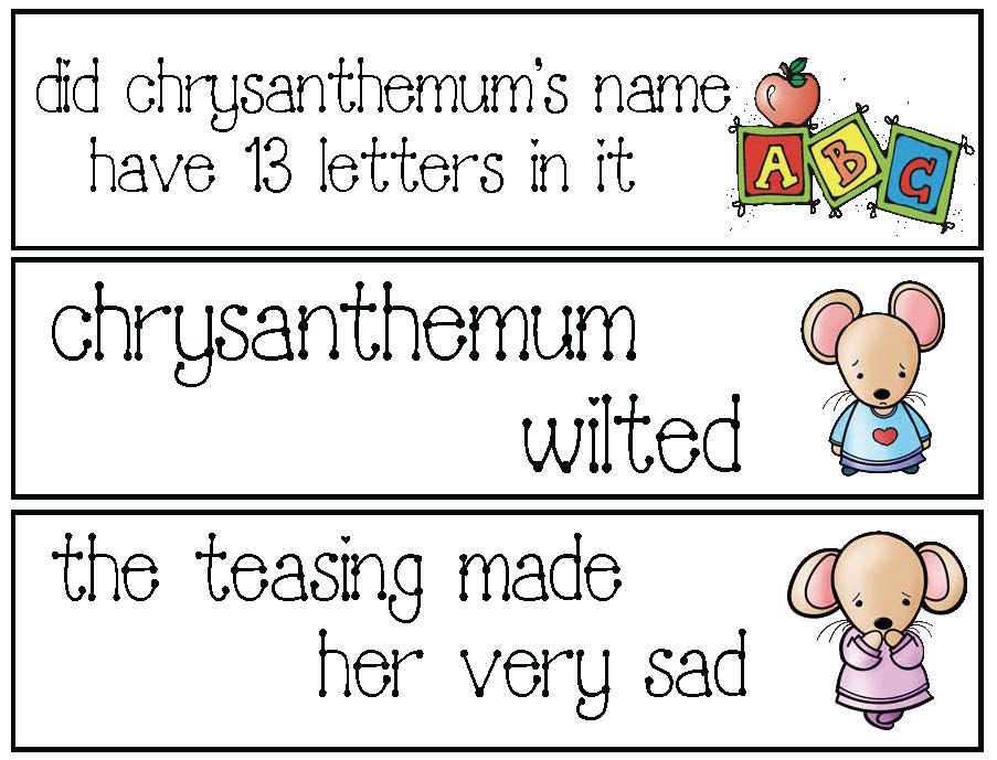 fix the sentence cards, chrysanthemum activities