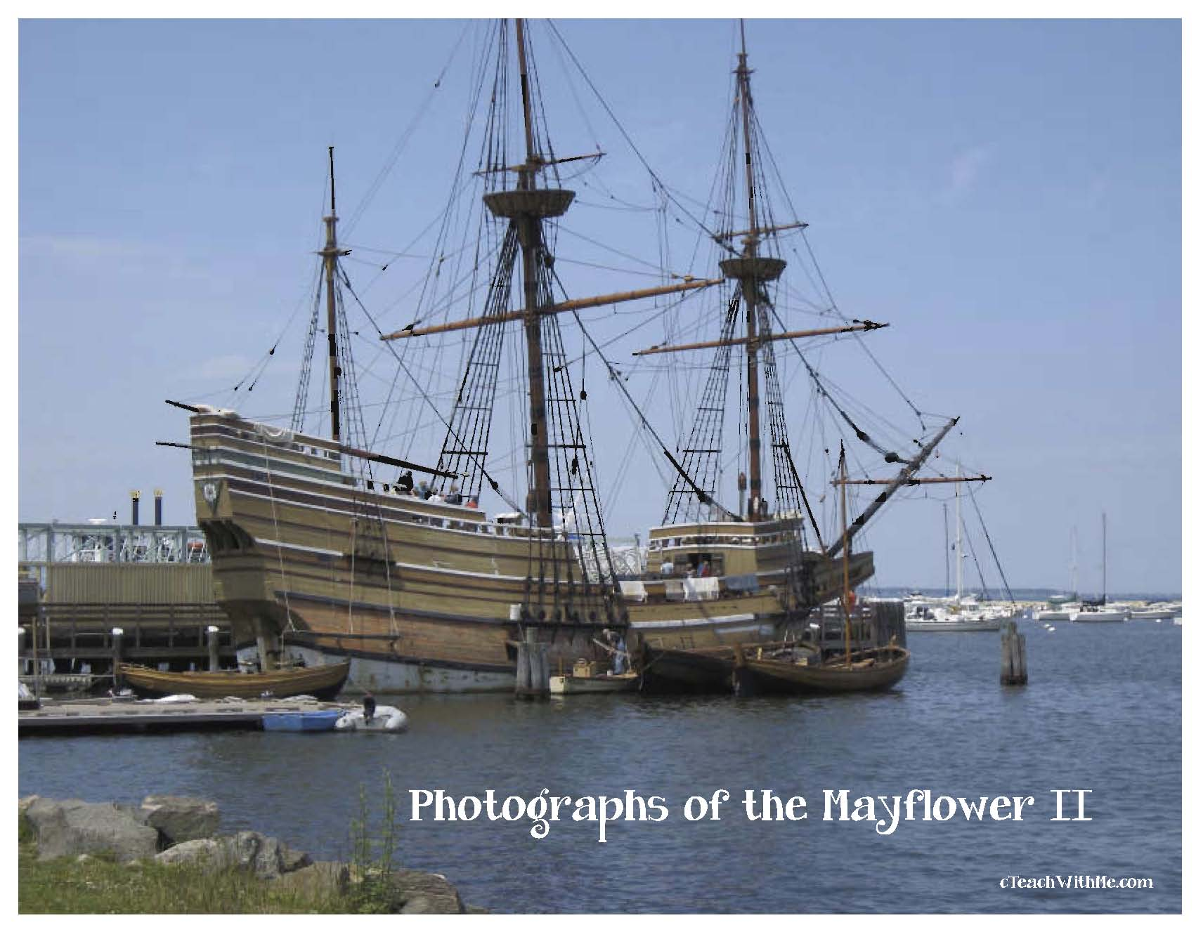 real photographs of the Mayflower II, real photographs of Plymouth rock, real photographs of Plimoth plantation, videos of the mayflower, videos of the pilgrimis, video of Mice on the Mayflower, real photographs of wampanoag Indians, thanksgiving activities
