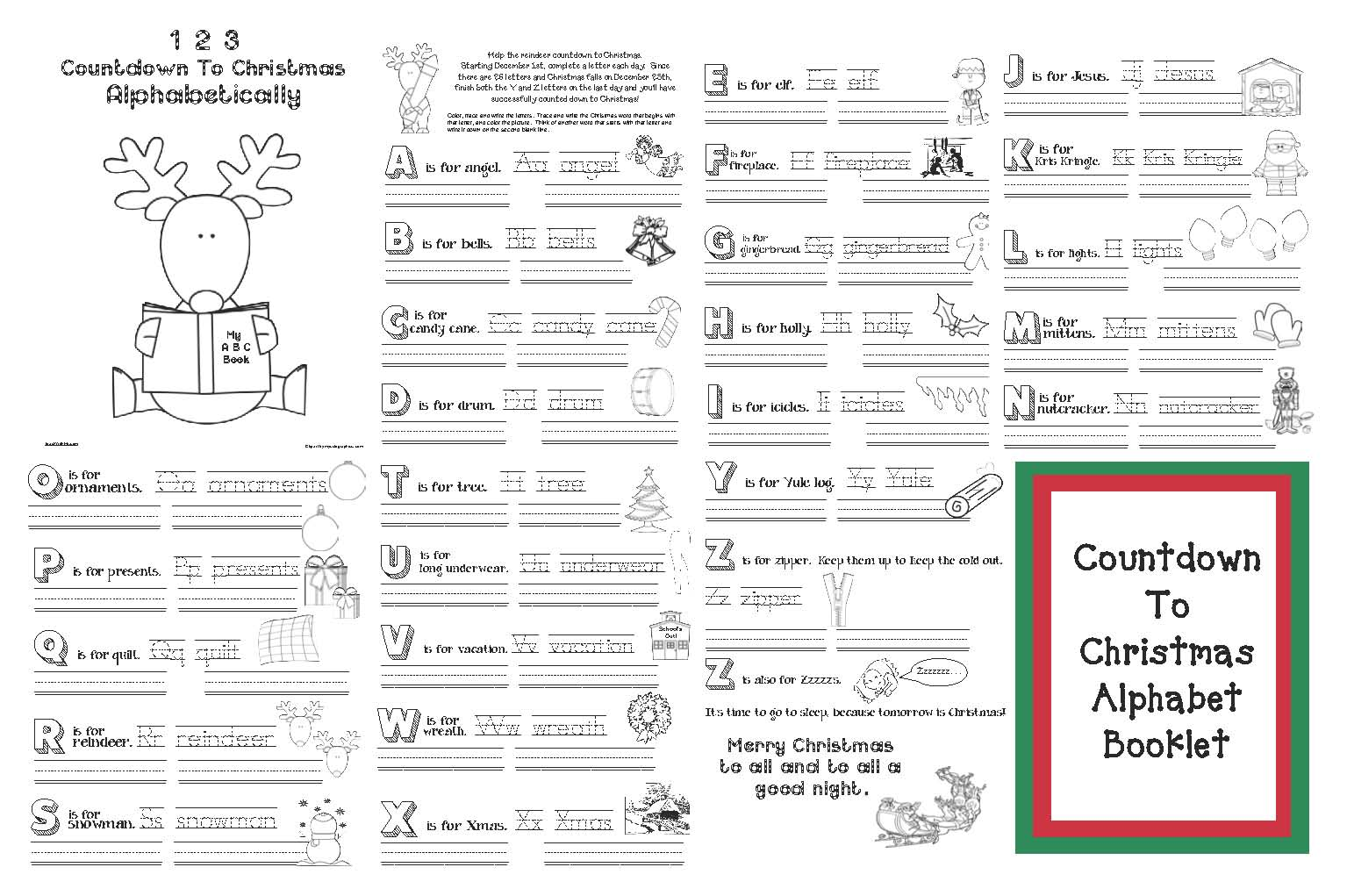 counting down to Christmas activities, gingerbread crafts, santa crafts, elf crafts, christmas worksheets, christmas countdown crafts, christmas crafts, skip counting by 2's activities, december math activities, counting activities for december, alphabet activities, alphabet games, alphabet books, class made alphabet books, christmas alphabet booklet, elf activities, christmas coloring pages, santas beard countdown, counting down to christmas coloring pages,