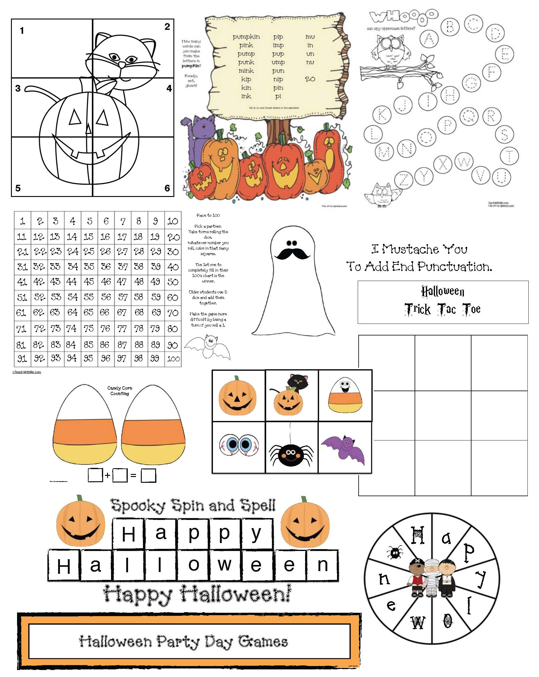 Halloween games, halloween activities, halloween coloring pages, halloween puzzles, halloween word games, halloween dice games, 100 chart games, 100 chart activities, hidden pictures in a 100 grid, pumpkin activities, pumpkin games, end punctuation activities, capitalization activities, spelling games, spelling activities, halloween writing prompts,