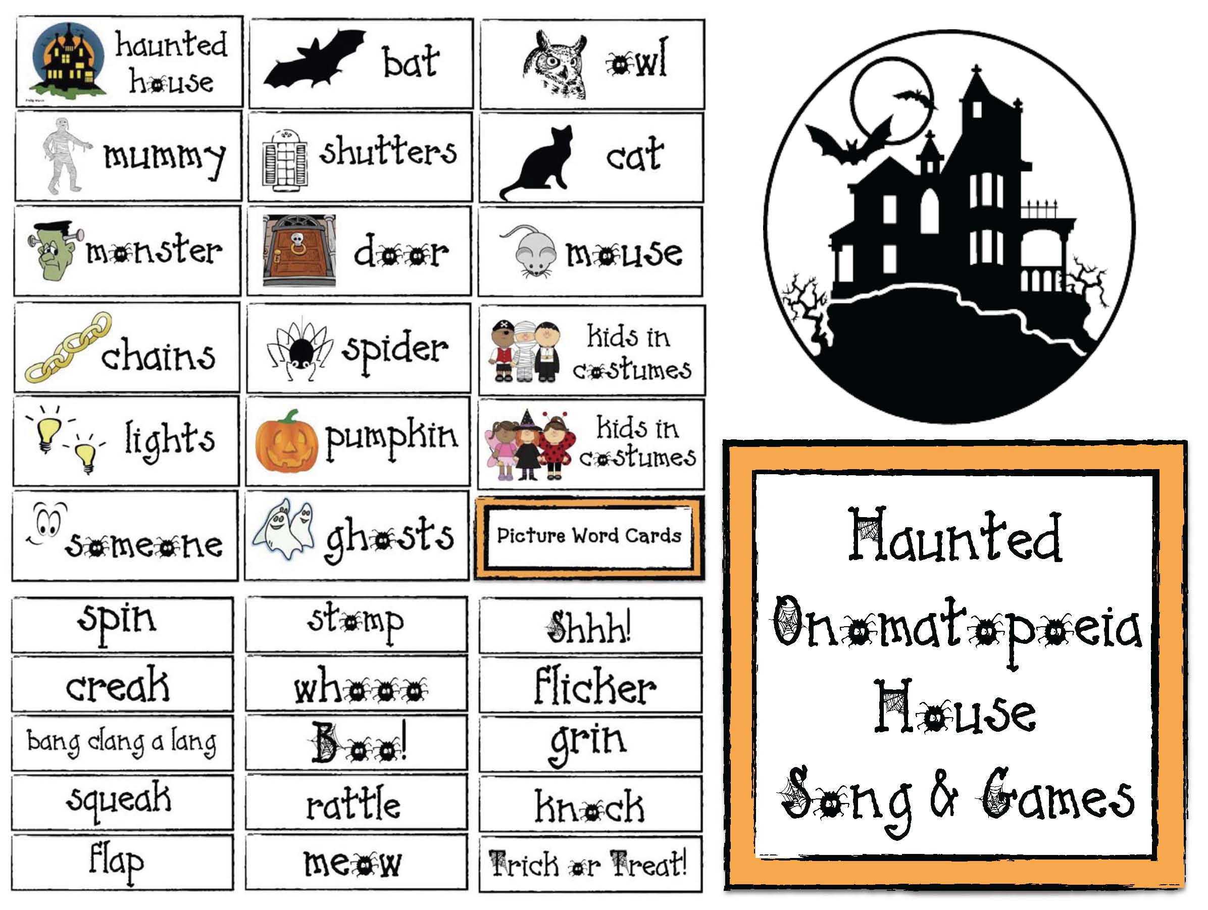 haunted house activities, haunted house activities for kids, spooky house activities, onomatopoeia activities, halloween activities, halloween games, ideas for kids halloween party, halloween school party activities, halloween games for kids, halloween songs, halloween songs for kids