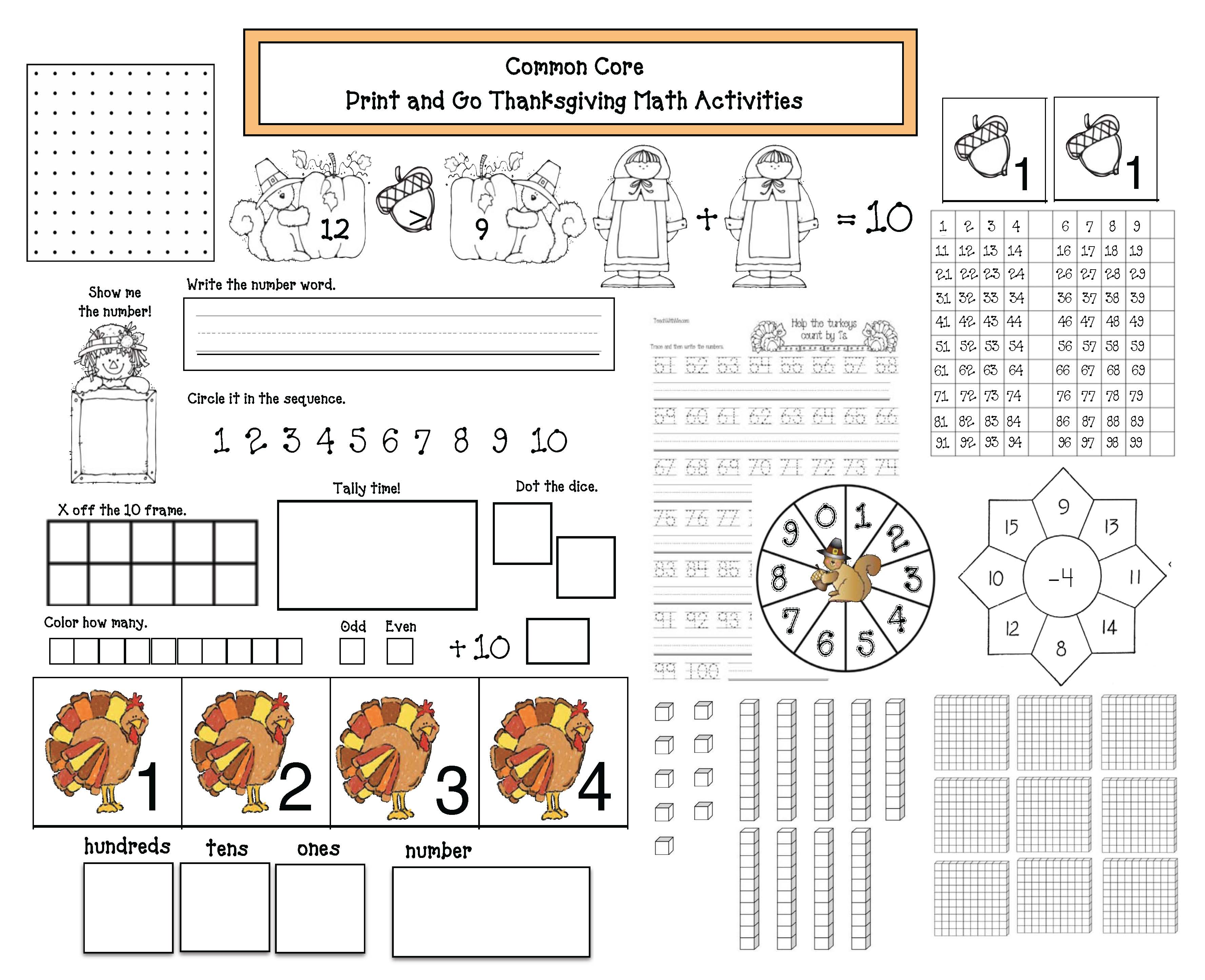 common core math kindergarten, common core math 1st grade, ordinal numbers, skip counting, odd and even, counting to 100, counting to 120, place value activities, fact family activities, Pilgrim activities, turkey activities, math games, 10 frames, thanksgiving math, november math worksheets, thanksgving games