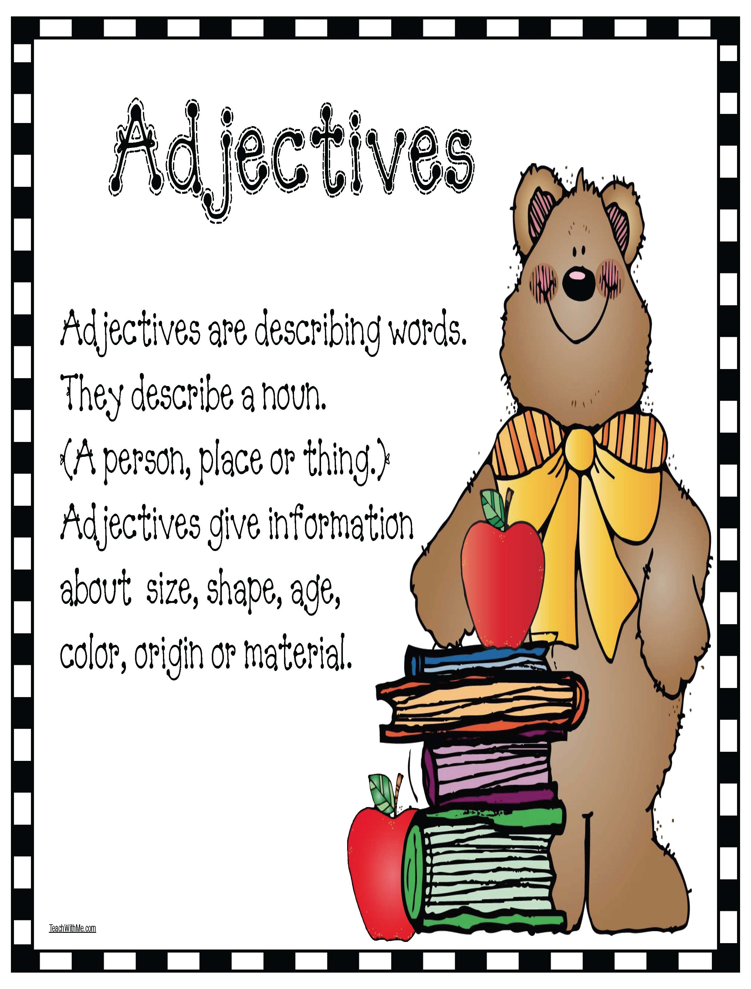 adjective poster, apple activities, september writing prompts, descriptive writing