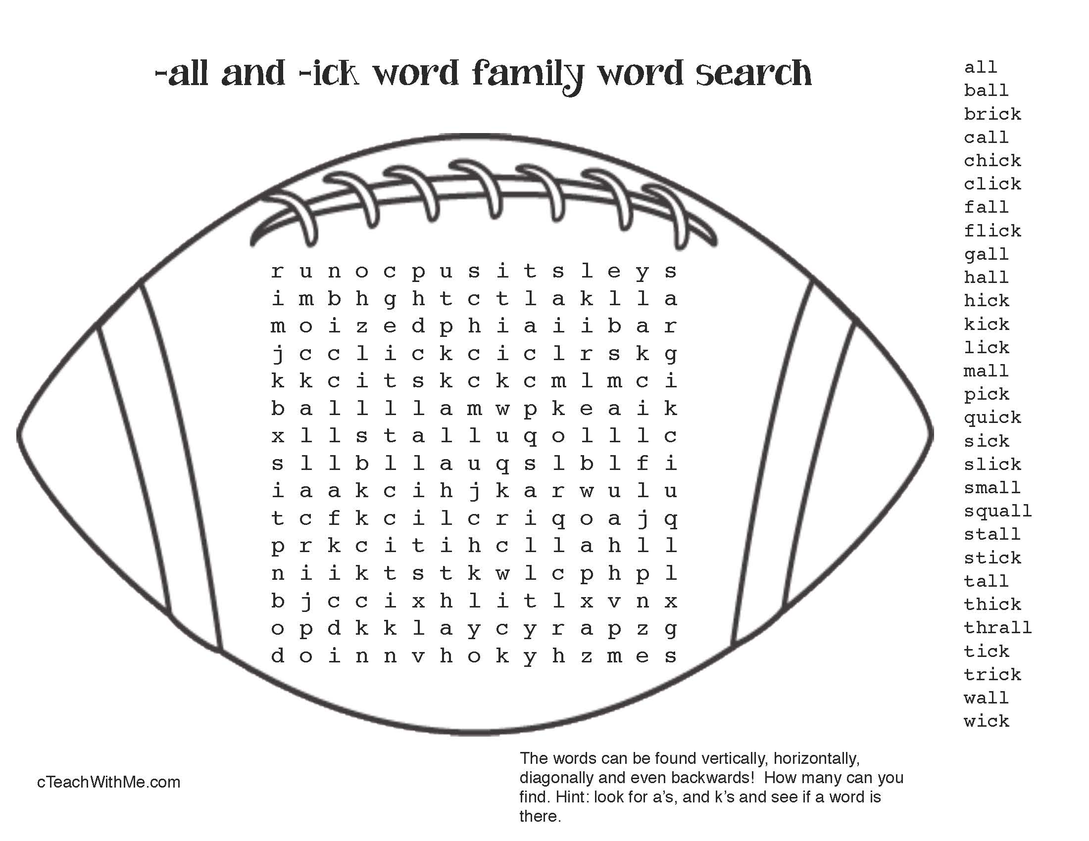 football activities, word family activities, common core football, ick word family activities, all word family activities, word family cards, fall games, fall centers, daily 5 for fall, word work for fall, bingo games for word families, alphabetizing worksheets,
