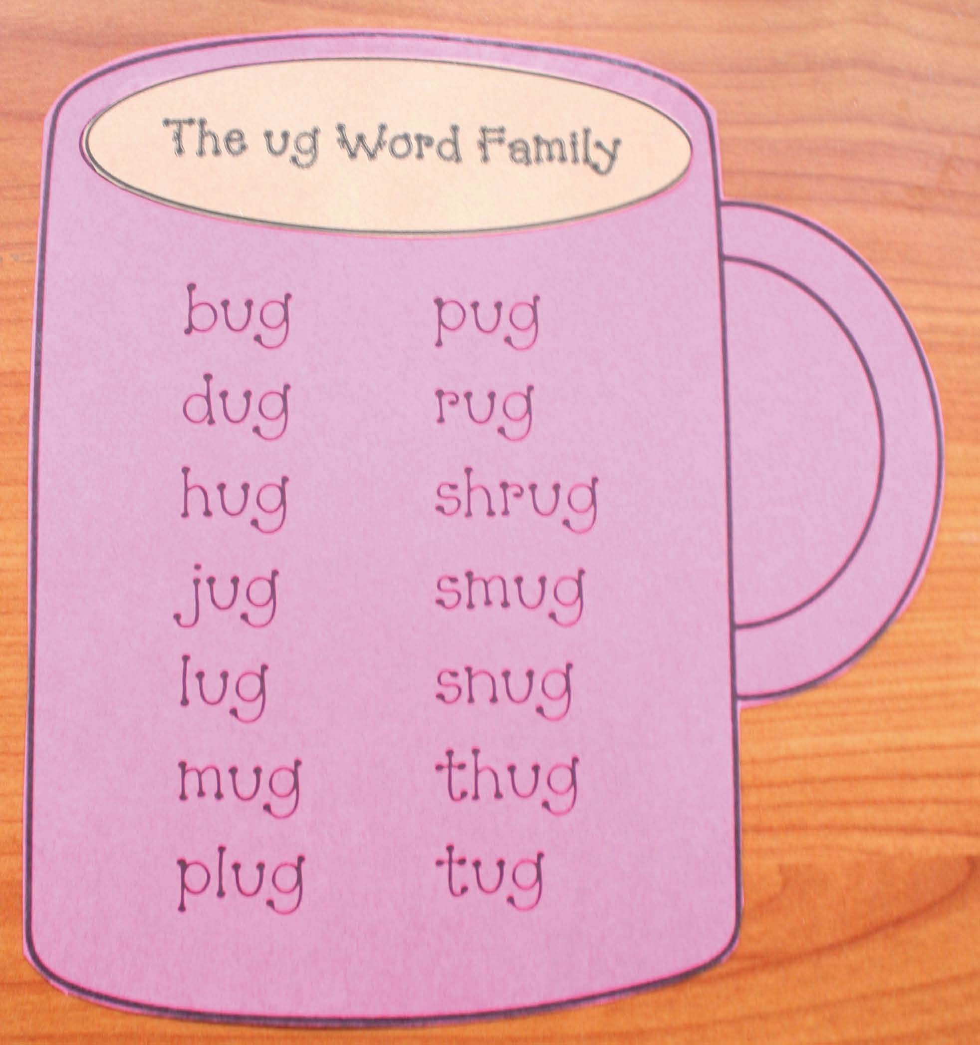 hot chocolate activities, ug word family activities, word family activities, word families, ug word family, mug template, cylinder crafts, cylinder poster, cylinder activities, 3D shape activities, january bulletin boards, winter bulletin board ideas, ug word family list of words