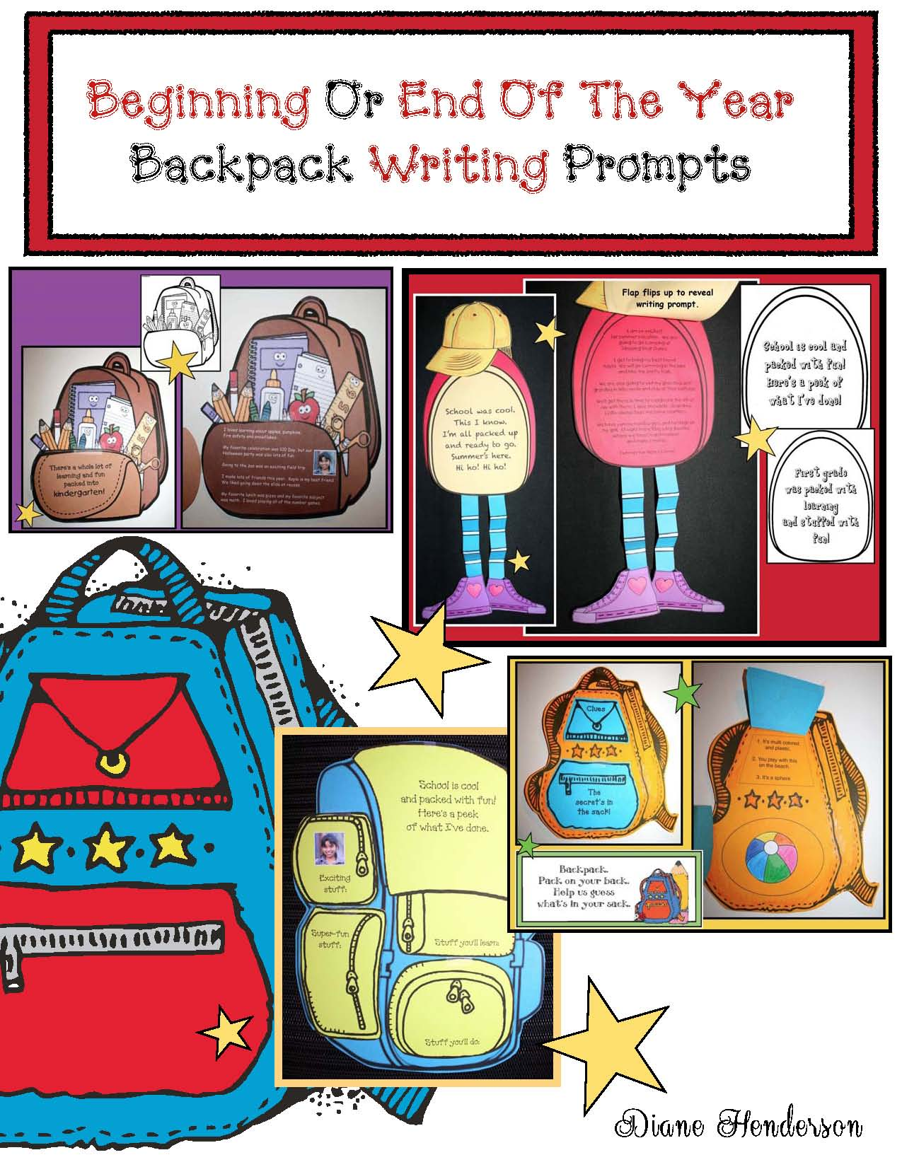 backpack activities, backpack crafts, end of the year crafts, end of the year activities, back to school crafts, back to school activities, writing prompts for next years students, end of the year writing prompts, back to school writing prompts, end of the year bulletin boards, summer writing prompts, summer crafts, summer bulletin boards,