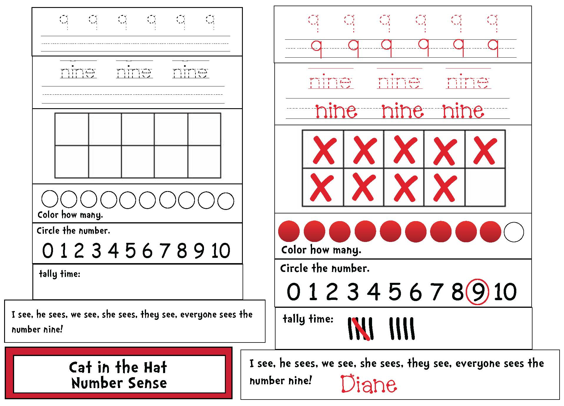 cat in the hat activities, cat in the hat number cards, seuss activities, seuss games, cat in the hat games, addition activities, subtraction activities, common core seuss, greater and less than activities, odd and even activities, PK and K math worksheets, math symbol bookmark,