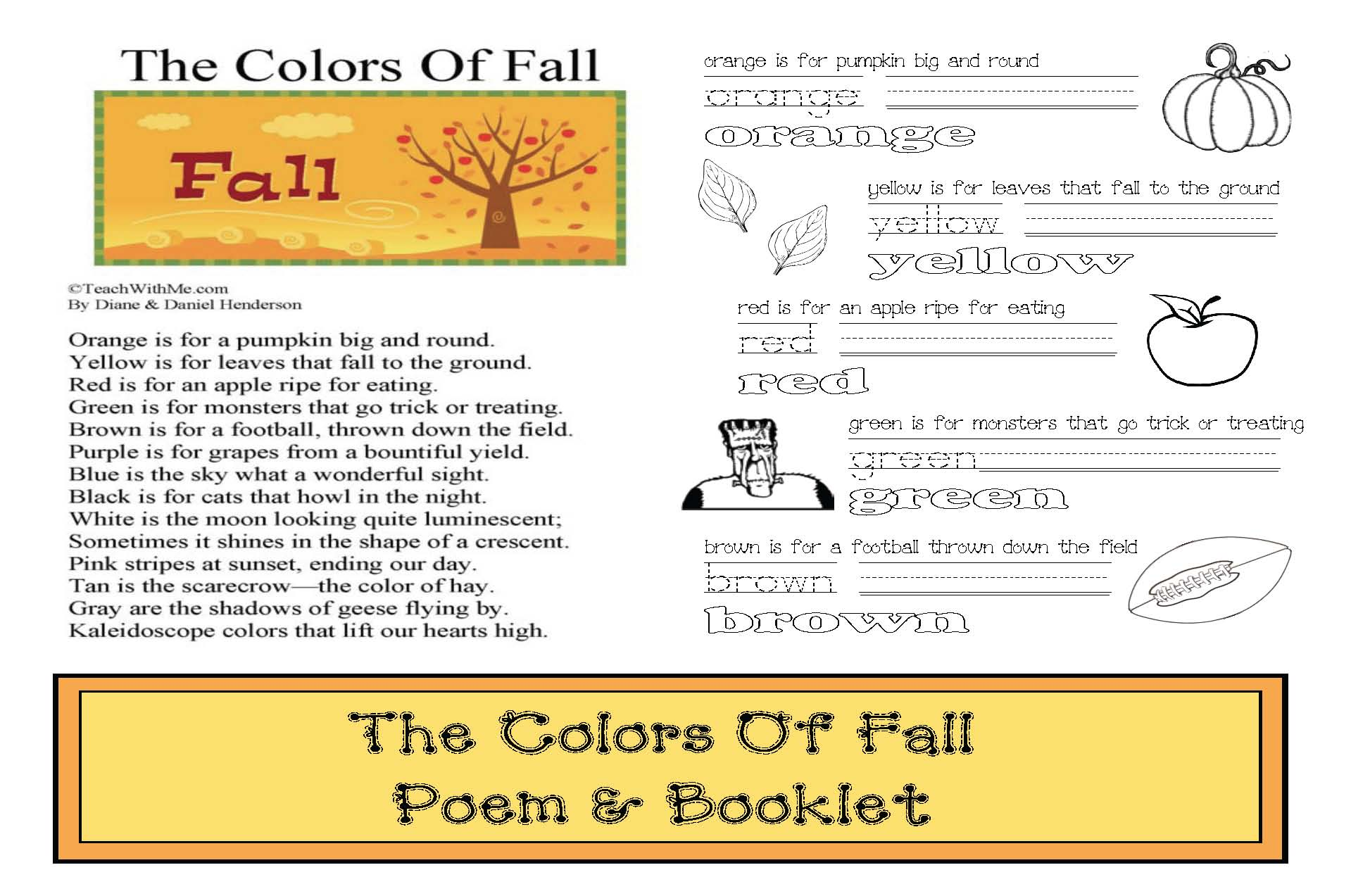 leaf activities, common core leaves, end punctuation activities, fall games, beginning capitalization activities, color word activities, color games, leaf games, fall poem, fall poetry