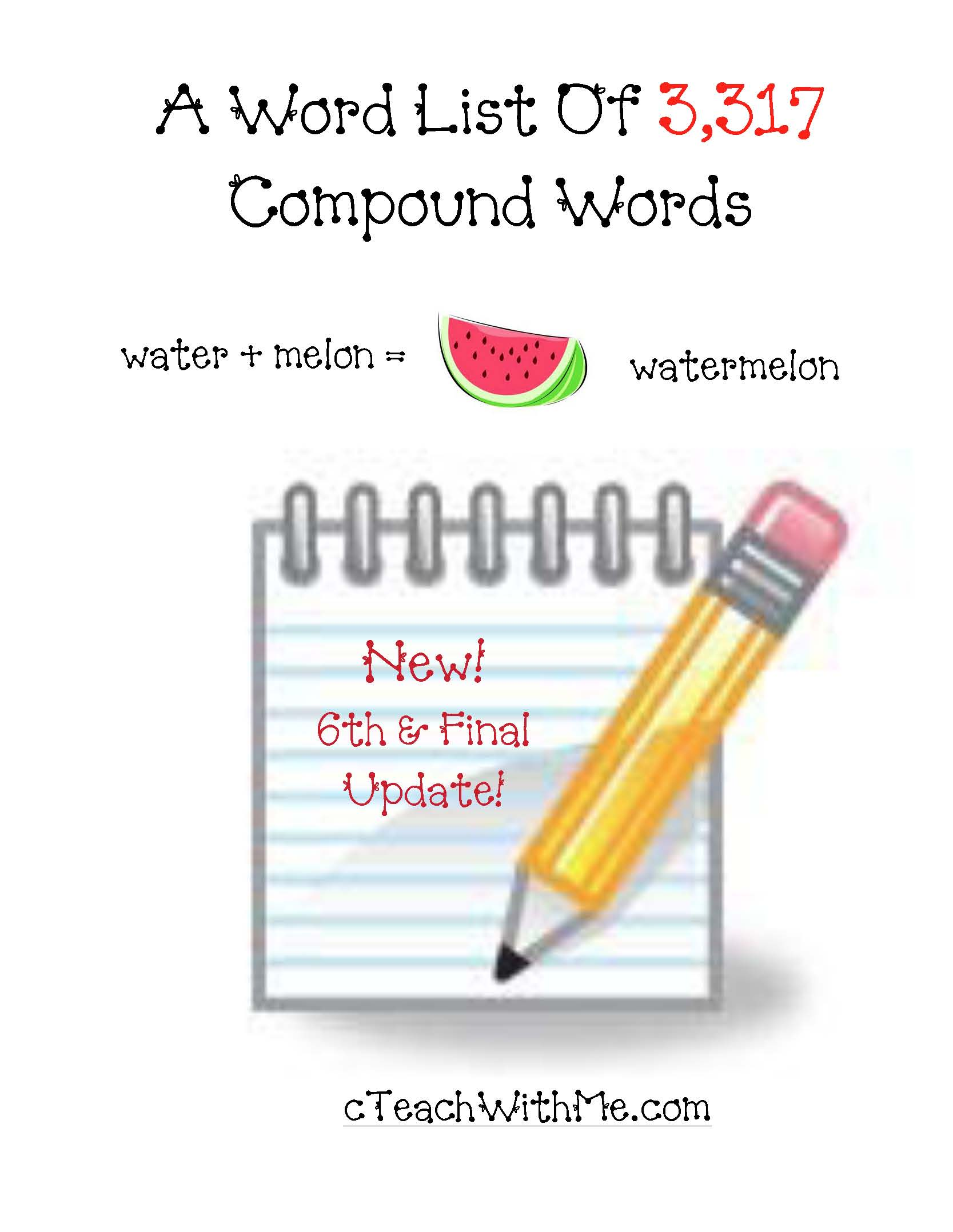 alphabetical list of 3,317 compound words, compound word activities, compound word dictionary, compound word poster, compound word list, list of compound words,