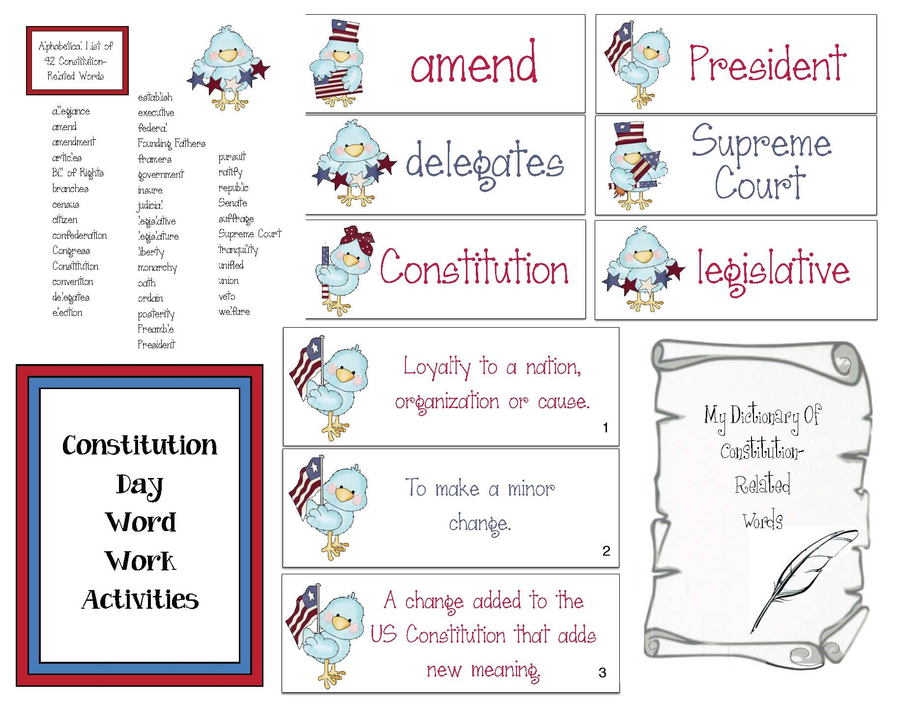 42 constitution vocabulary words, constitution day activities, constitution day lessons, constitution day ideas, vocabulry building activities, alphabetizing words activities