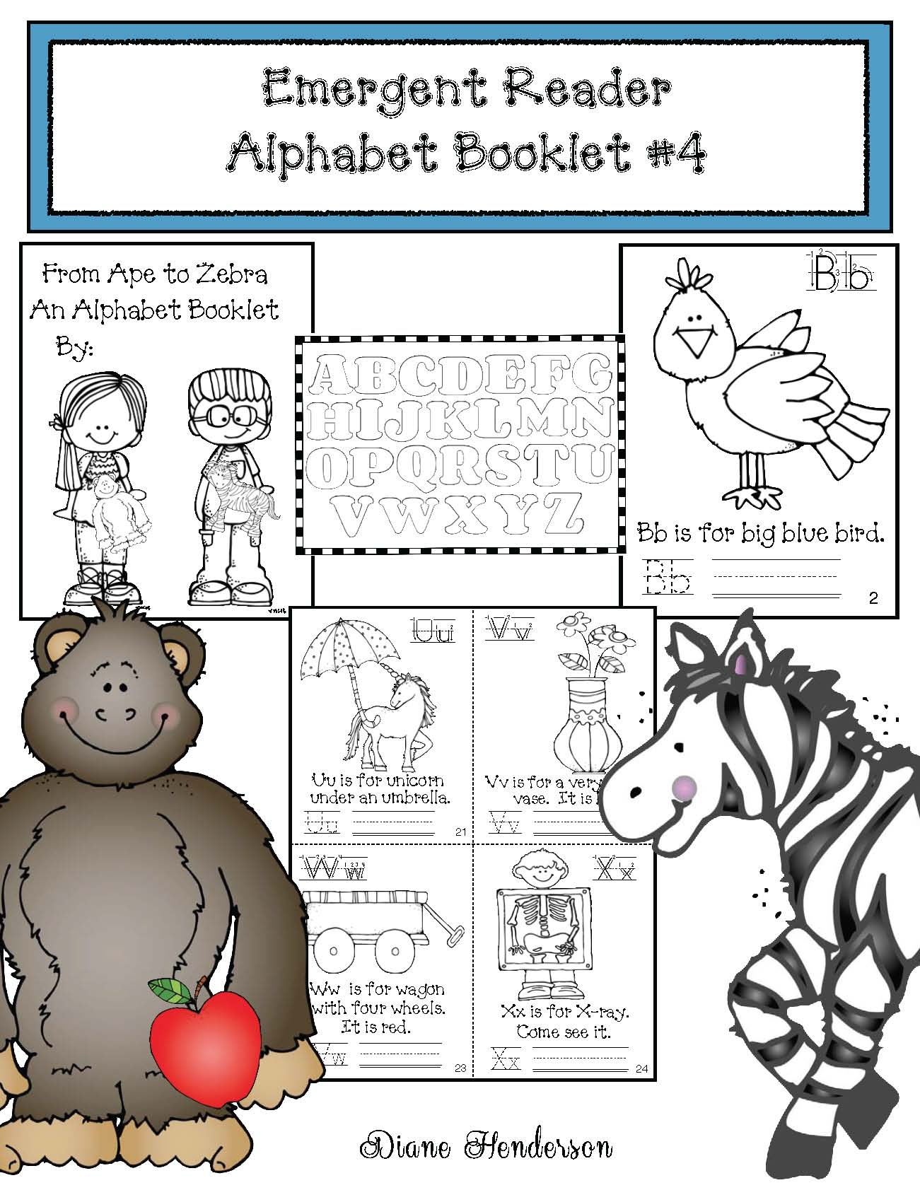 alphabet activities, alphabet posters, emergent reader alphabet booklets