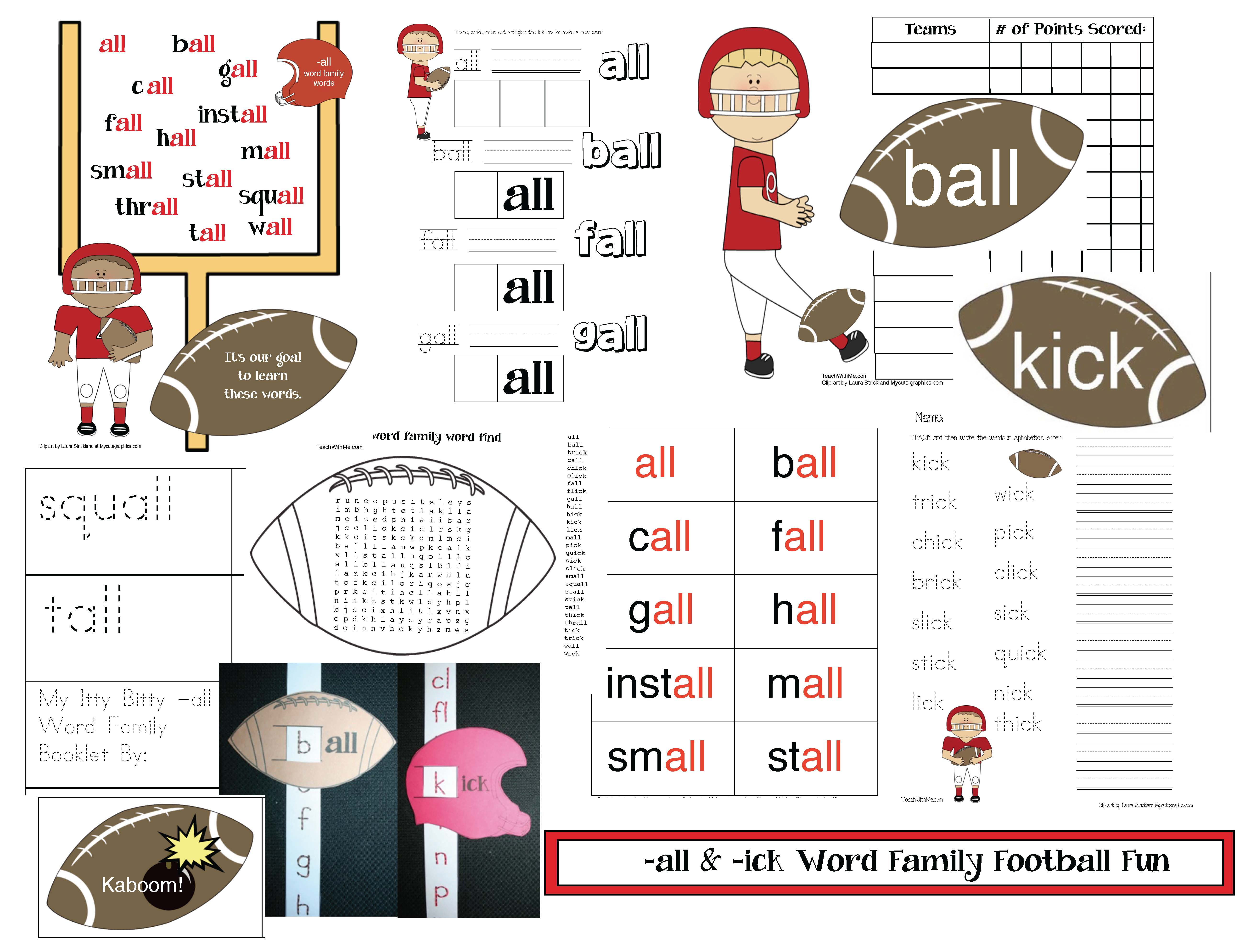 football activities, word family activities, common core football, ick word family activities, all word family activities, word family cards, fall games, fall centers, daily 5 for fall, word work for fall,alphabetizing worksheets,