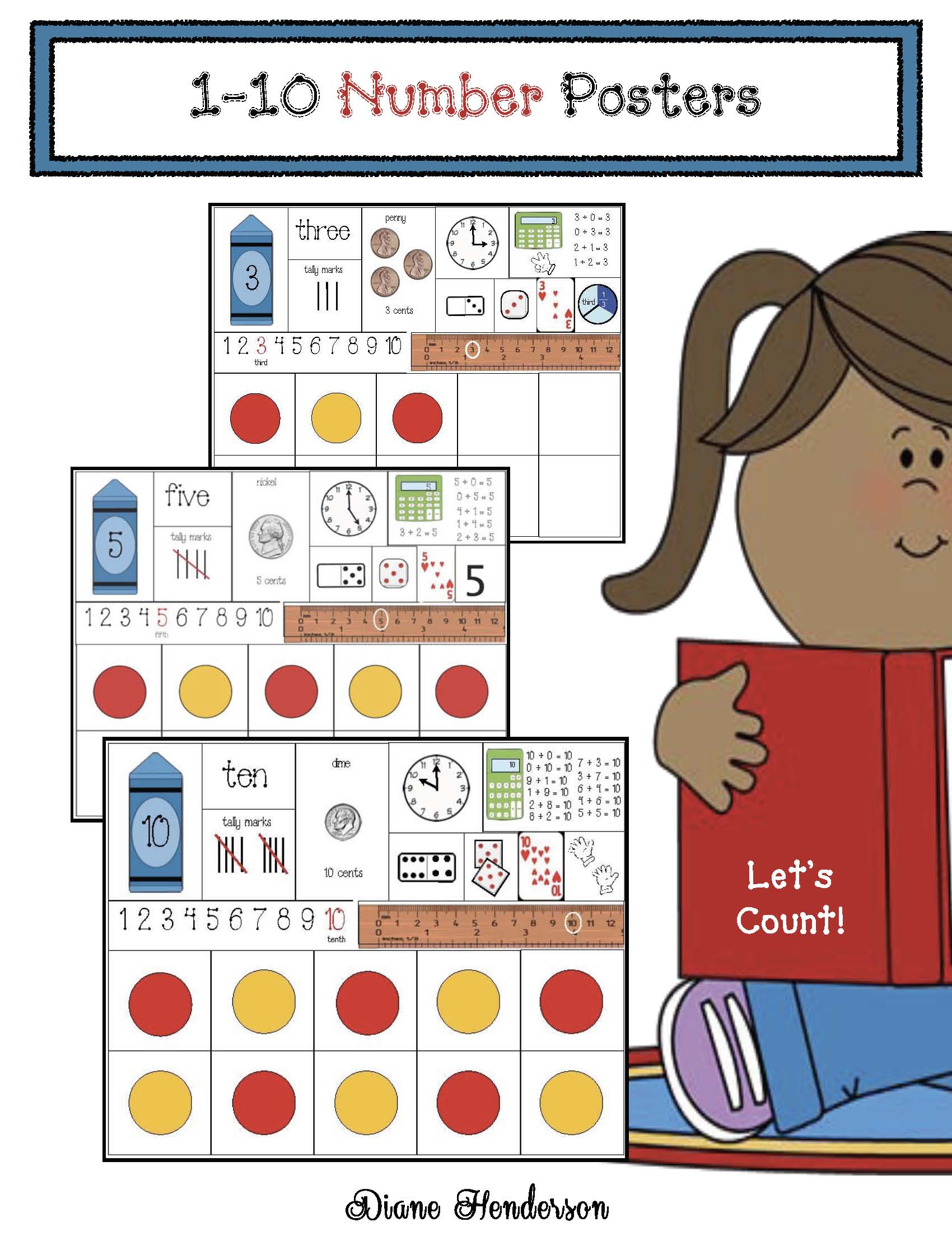 number posters, 10 frame activities, math centers